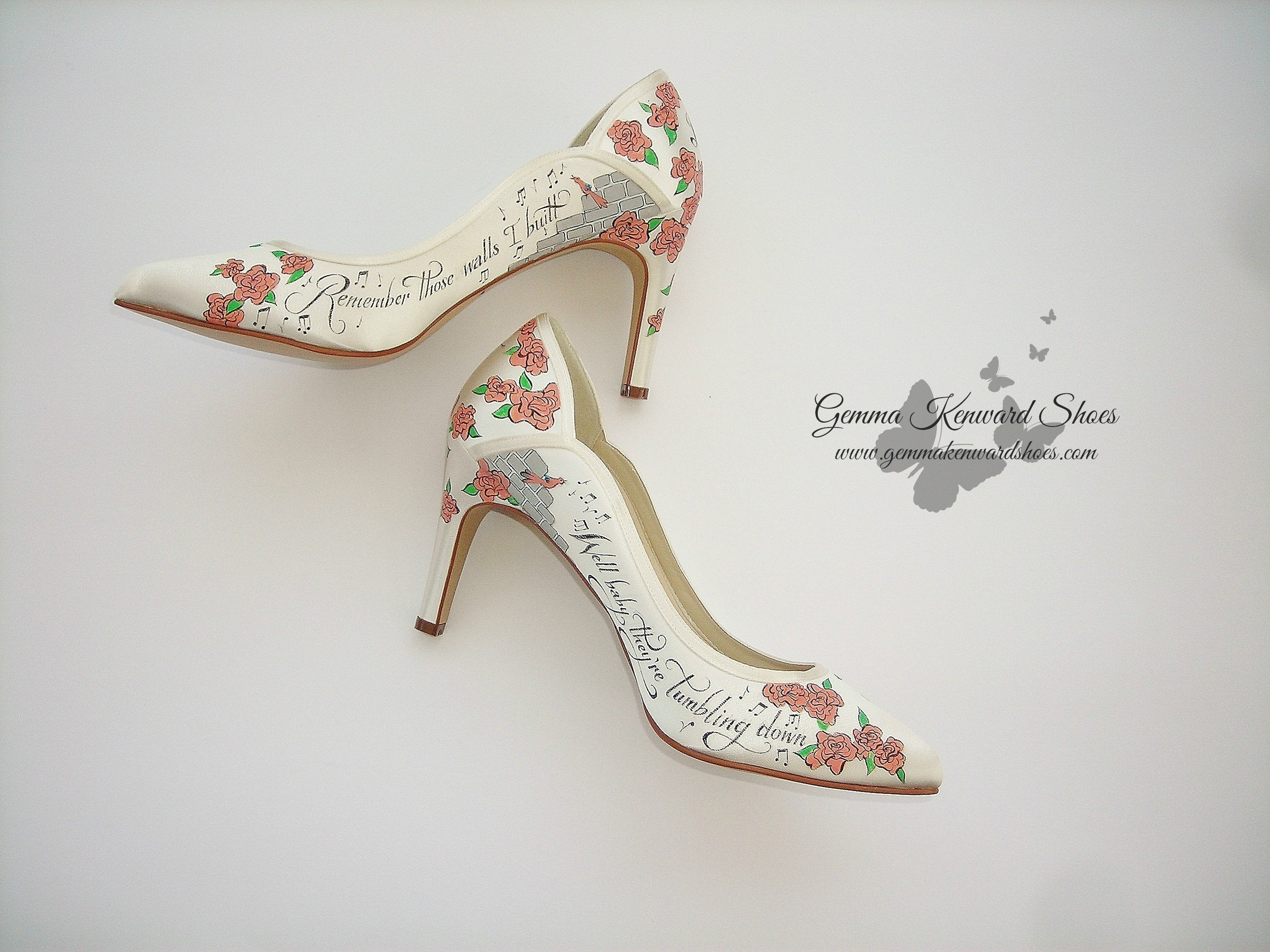 Pink roses painted onto a pair of bridal shoes for a London bride