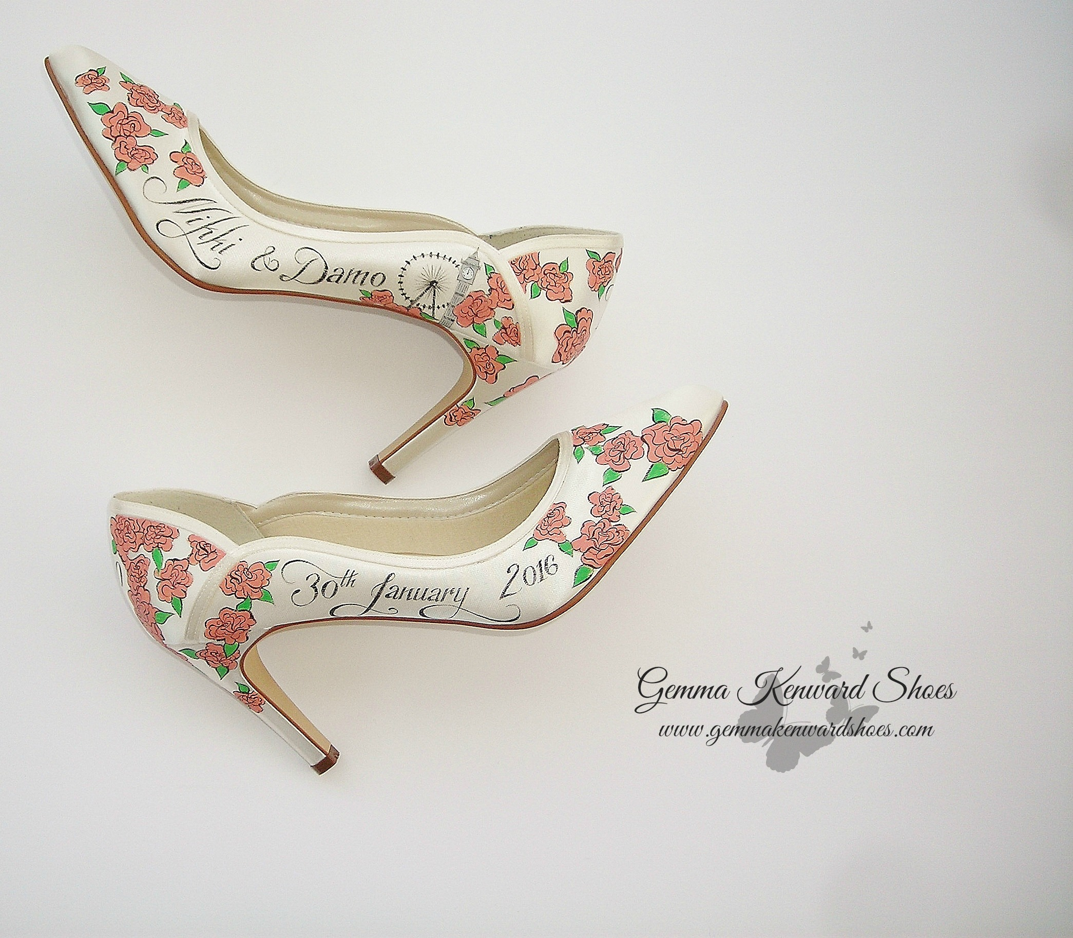 Names and date painted on the wedding shoes for the bride and groom getting married in London
