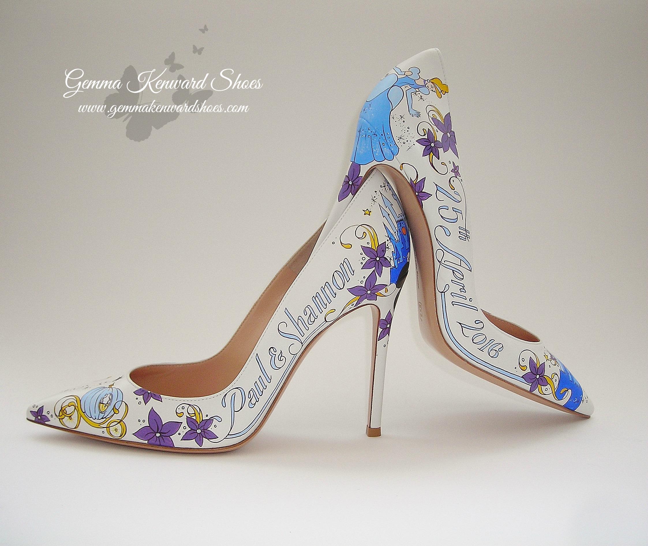 Hand painted Disney Princess wedding shoes