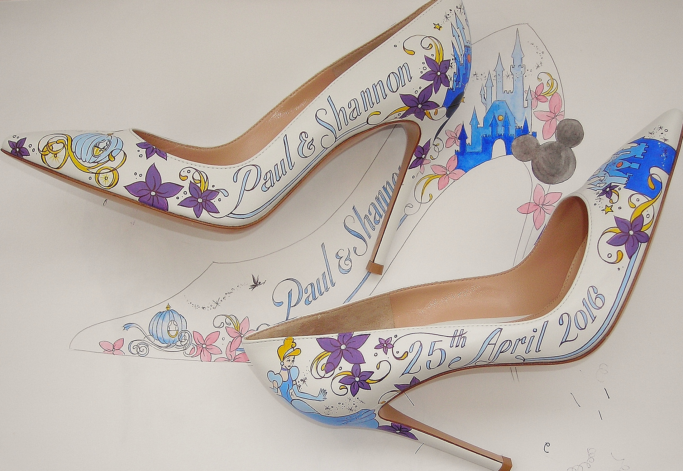If you look closely you can see the pumpkin hand painted on the front of the wedding shoes