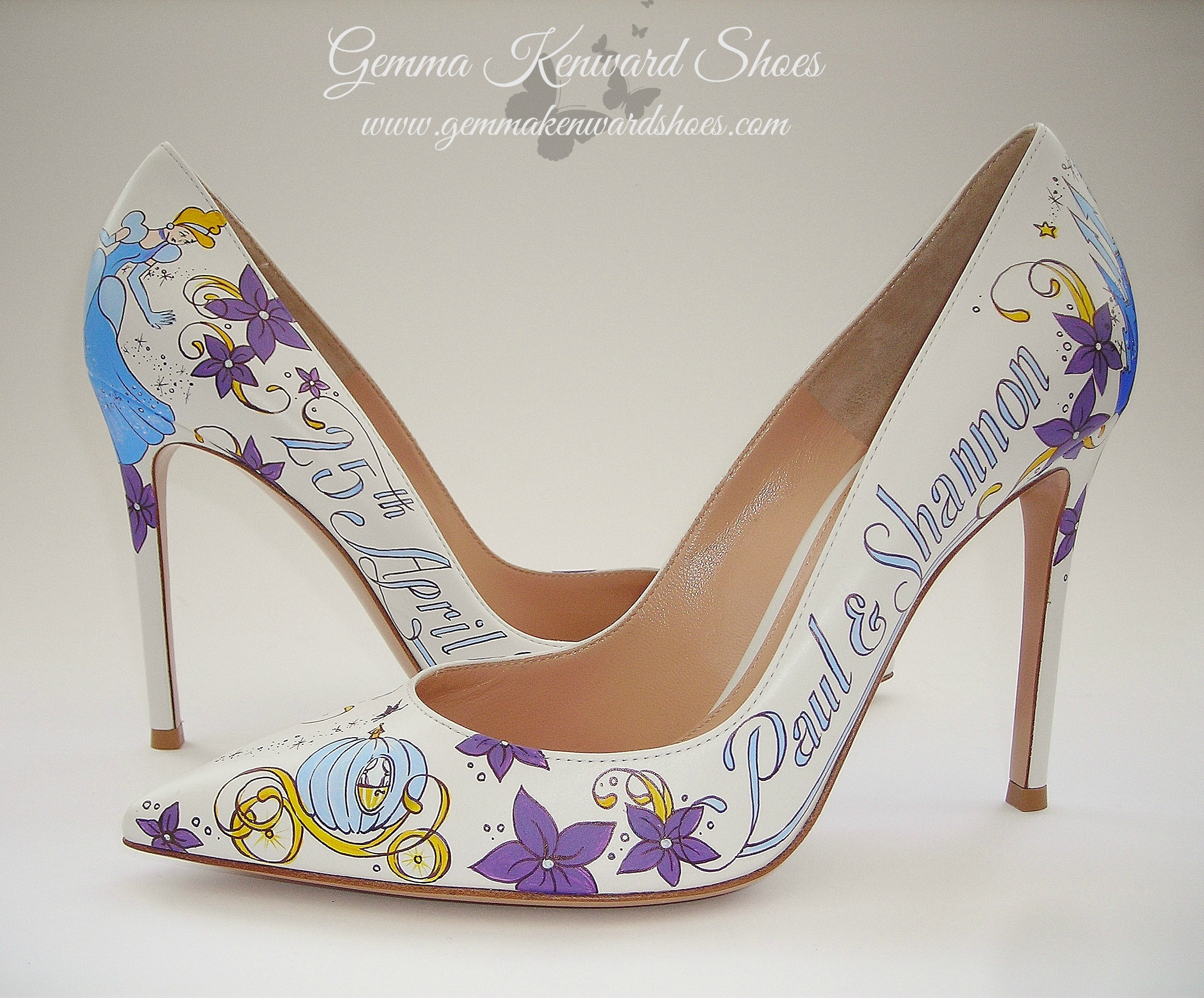 Custom painted bridal shoes with purple flowers and a Disney Theme.