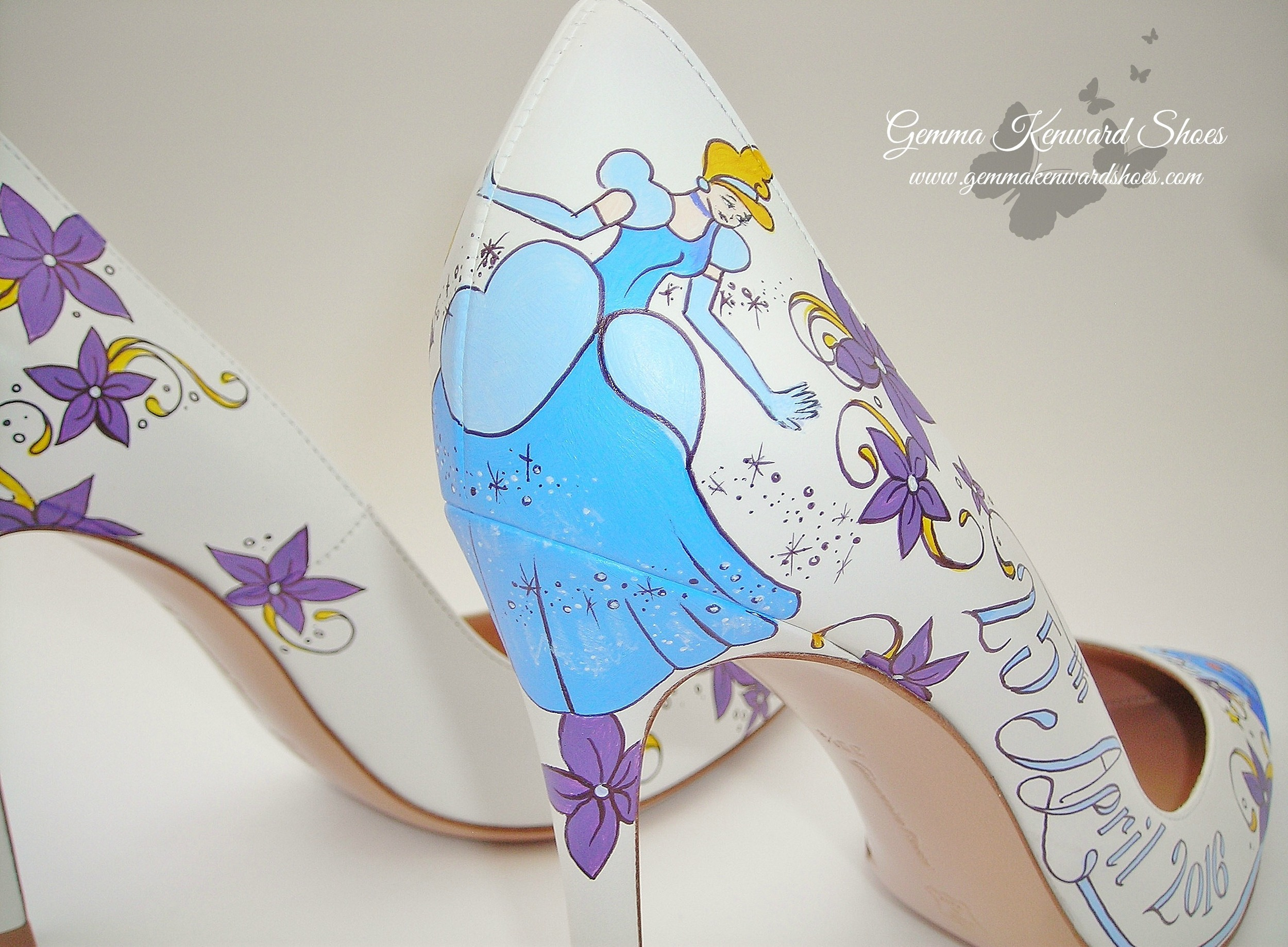 Tinkerbell has been painted on the wedding shoes, can you spot her?