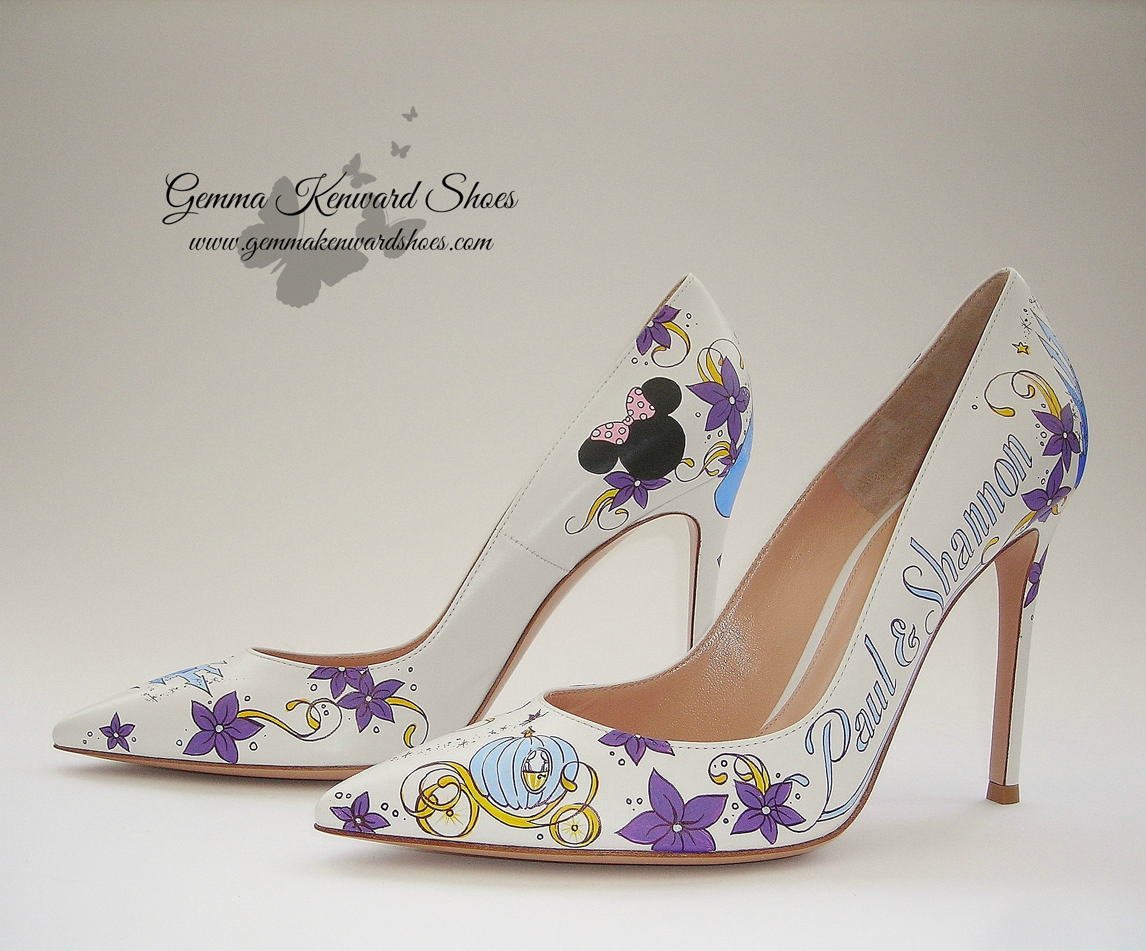 The Mickey and Minnie Mouse ears painted onto the backs of the shoes accentuated the Disney theme for the wedding.