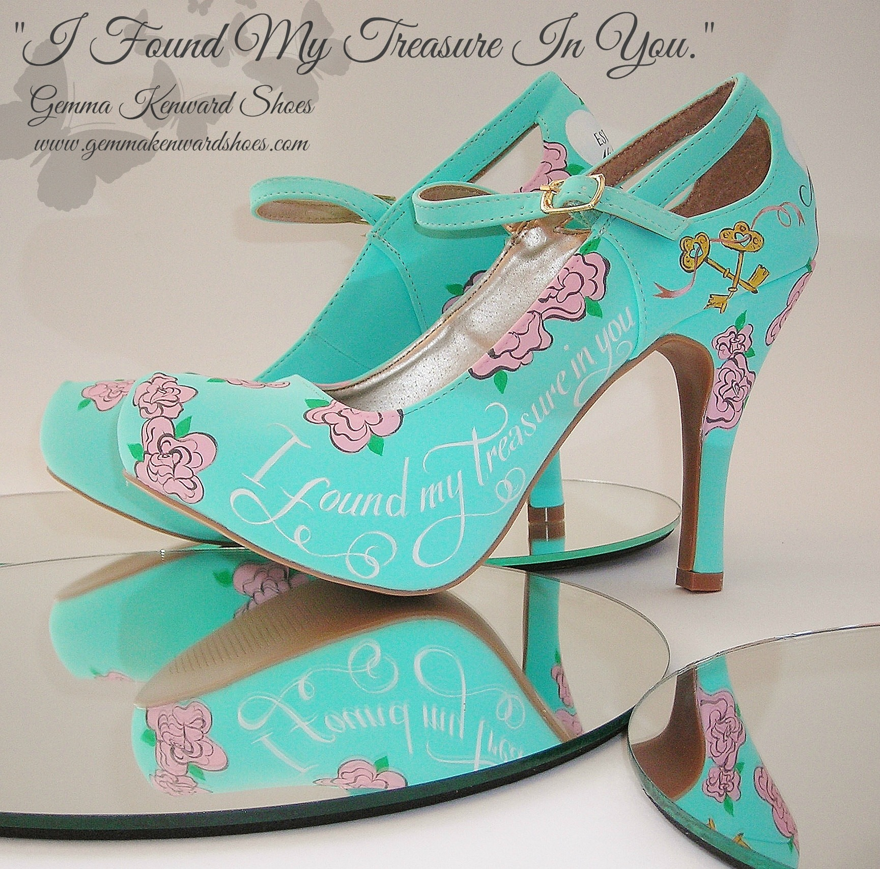 Ice blue, pink and gold hand painted brides shoes