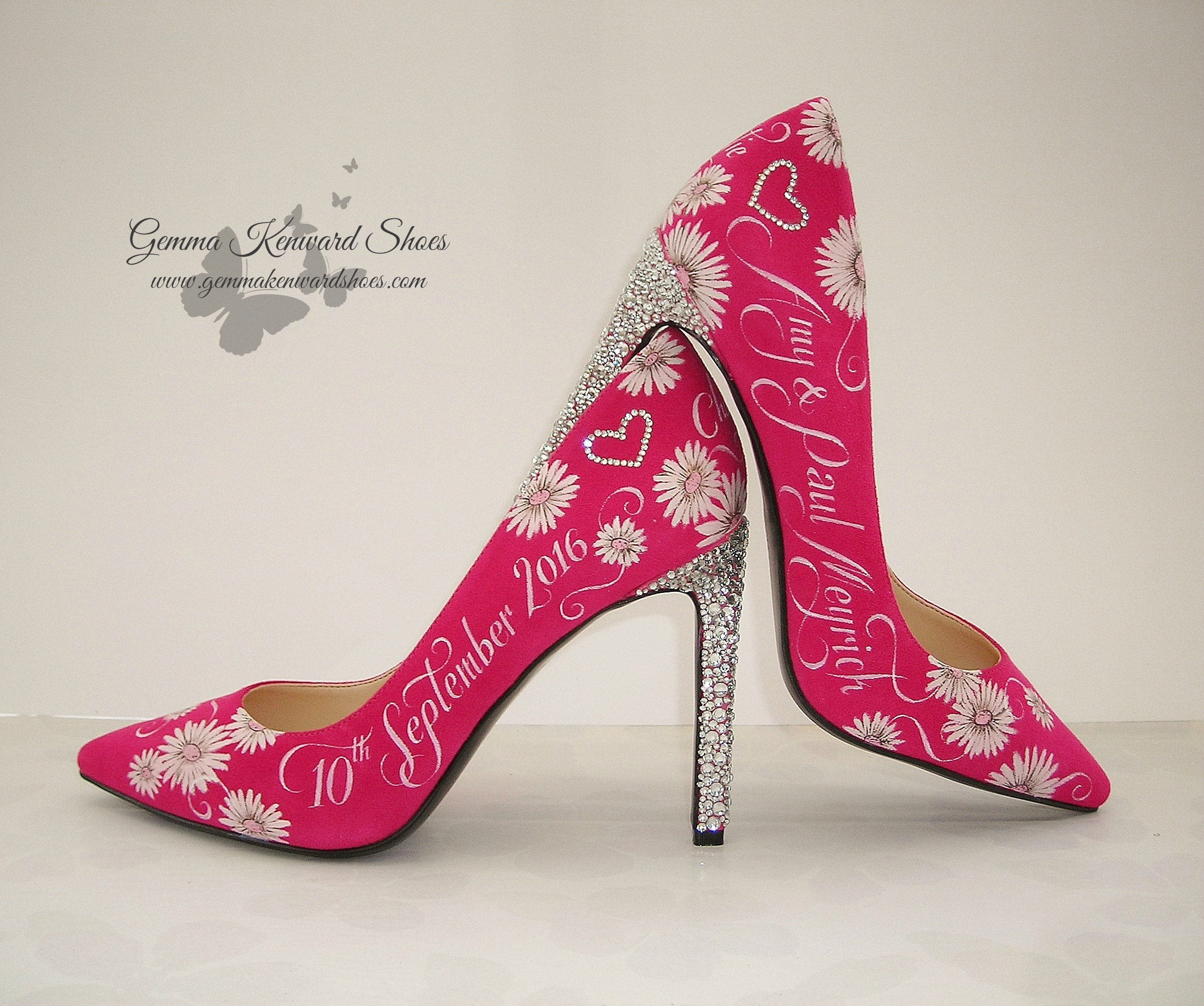 Pink bridal shoes personalised with dates names and flowers