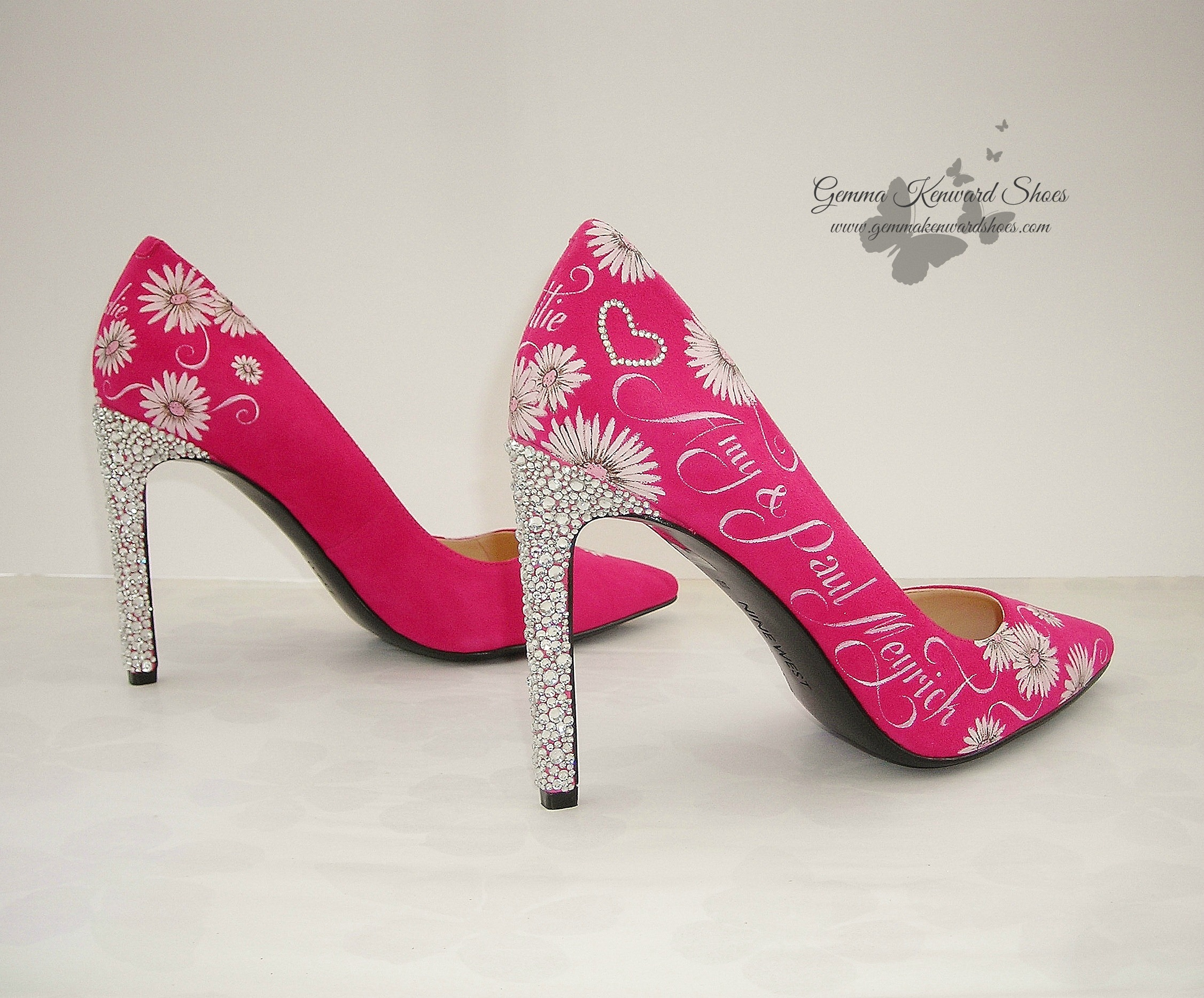 Pink wedding shoes custom painted with flowers