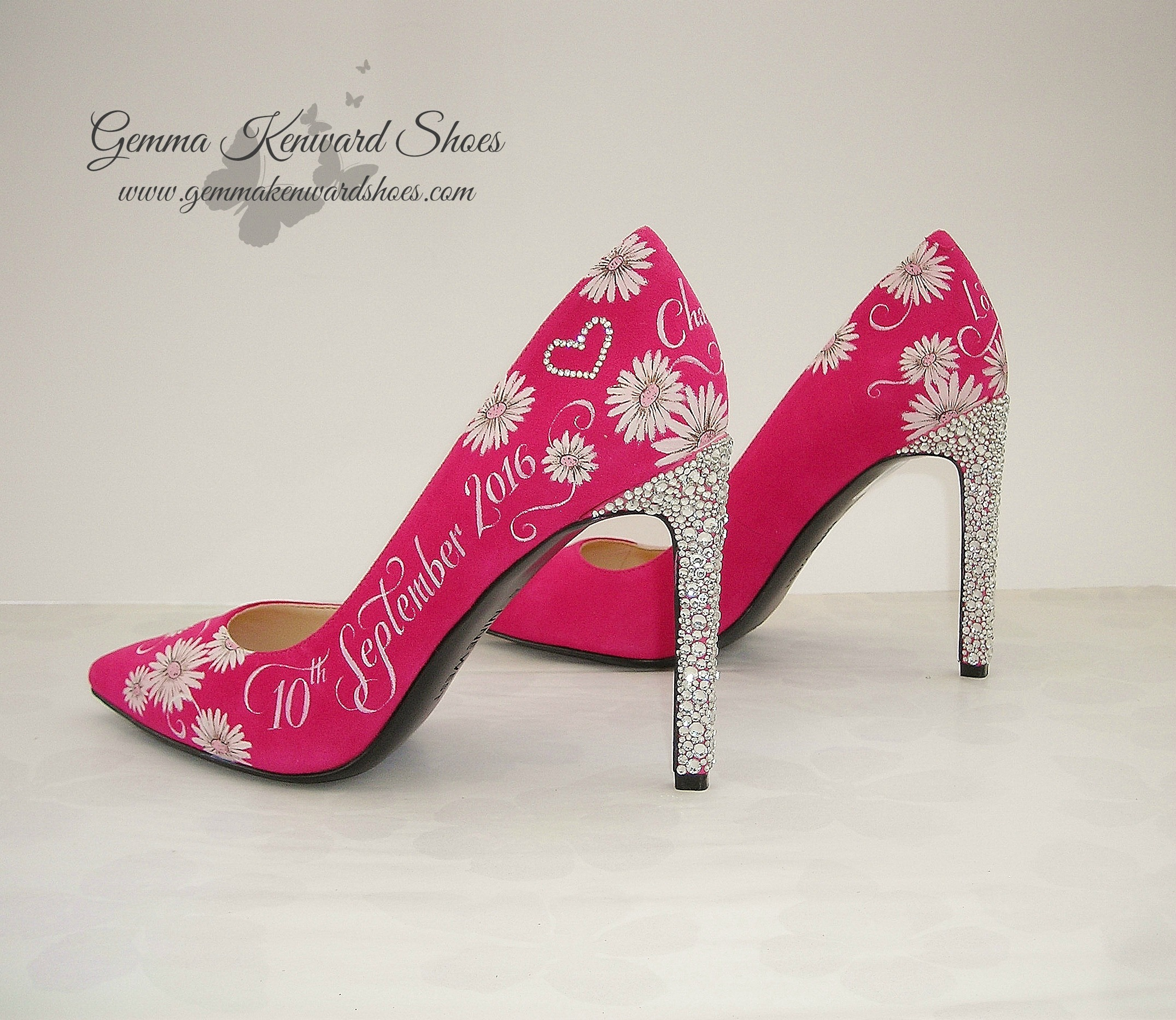 Hot pink wedding shoes with diamantes and gerberas