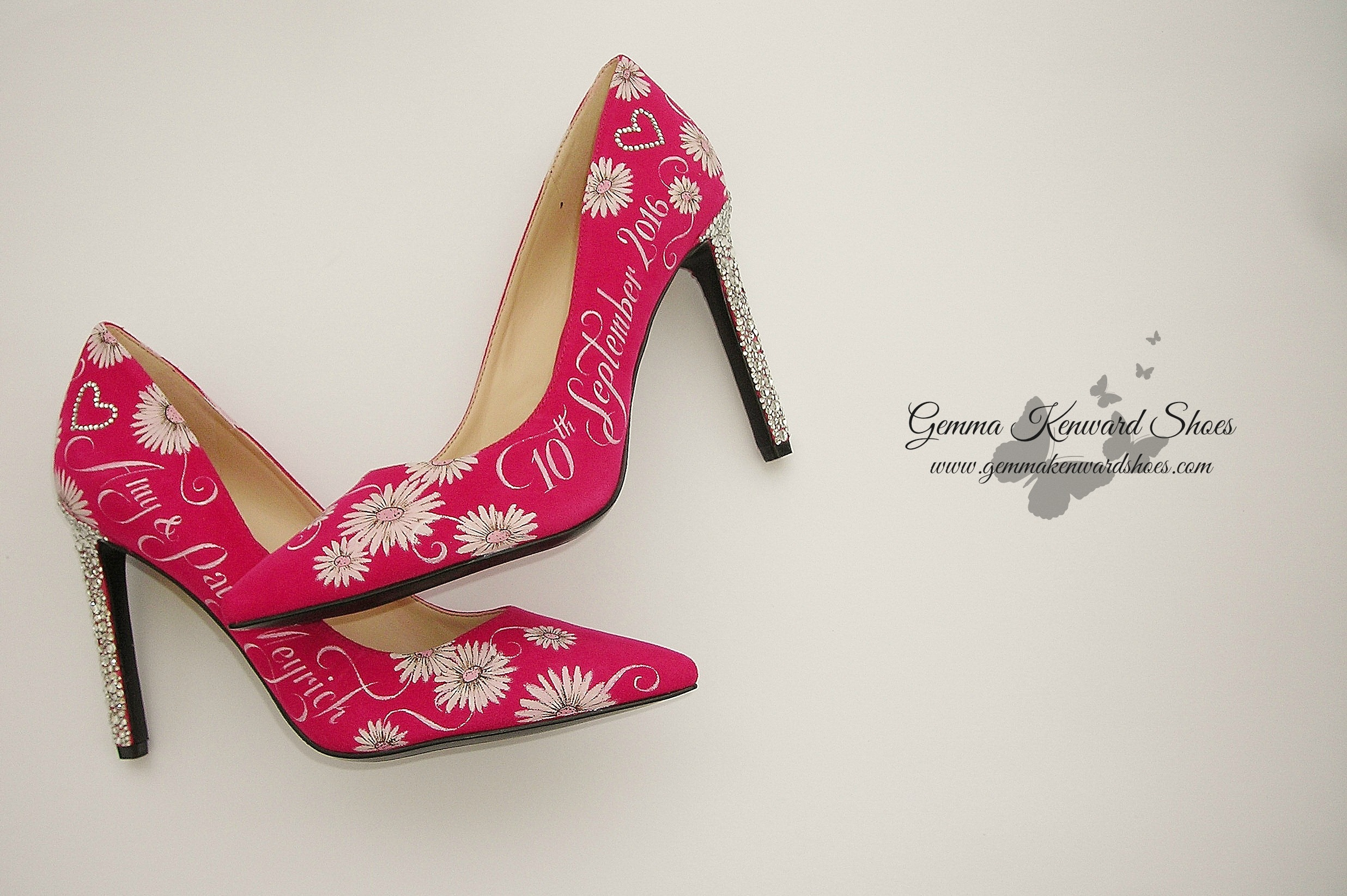 Hand painted wedding shoes with gerbera flowers and Swarovski diamante heels