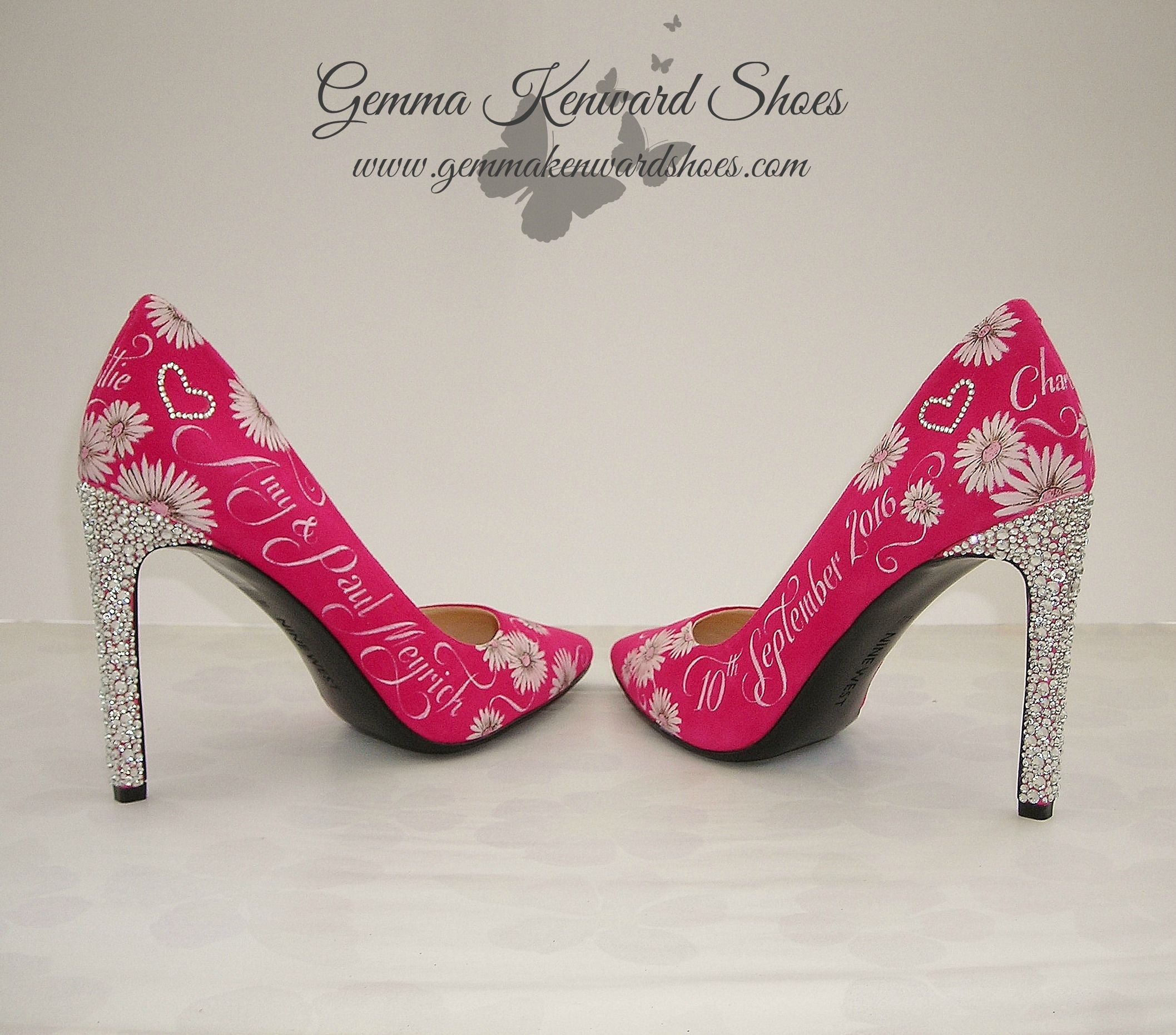 Magenta vrides shoes with crystal heels