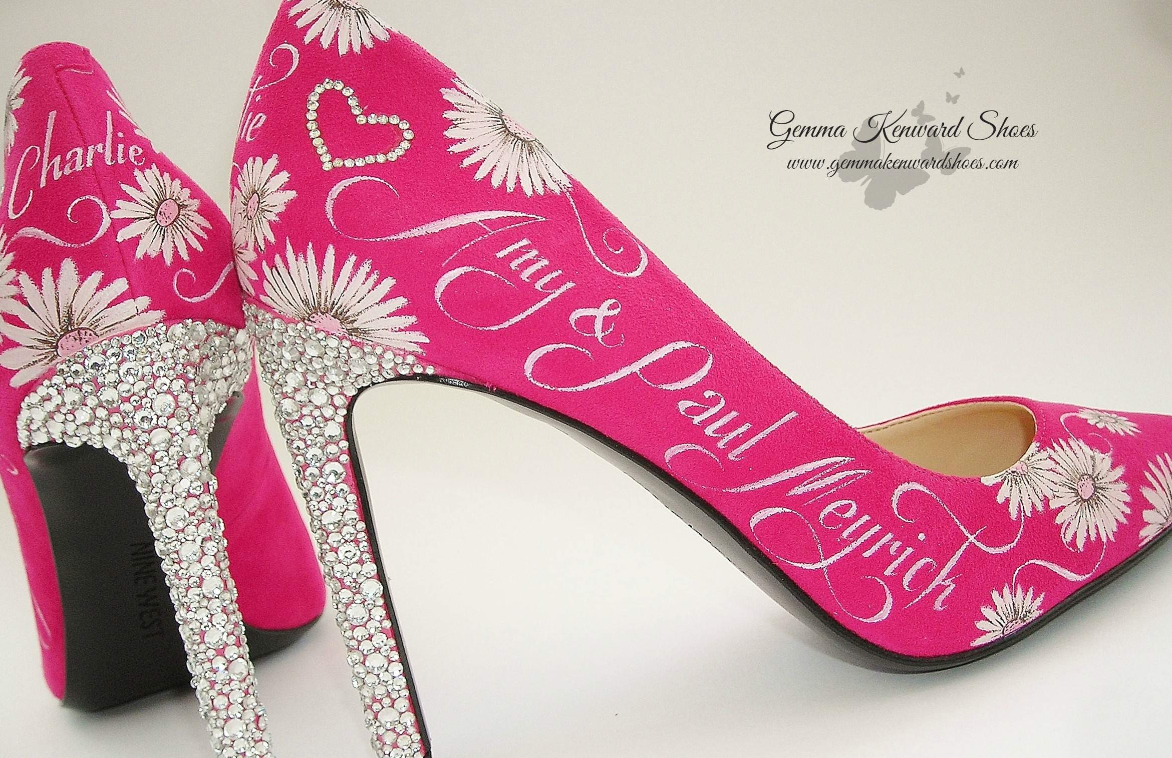 Swarovski diamond heel wedding shoes customised with flowers