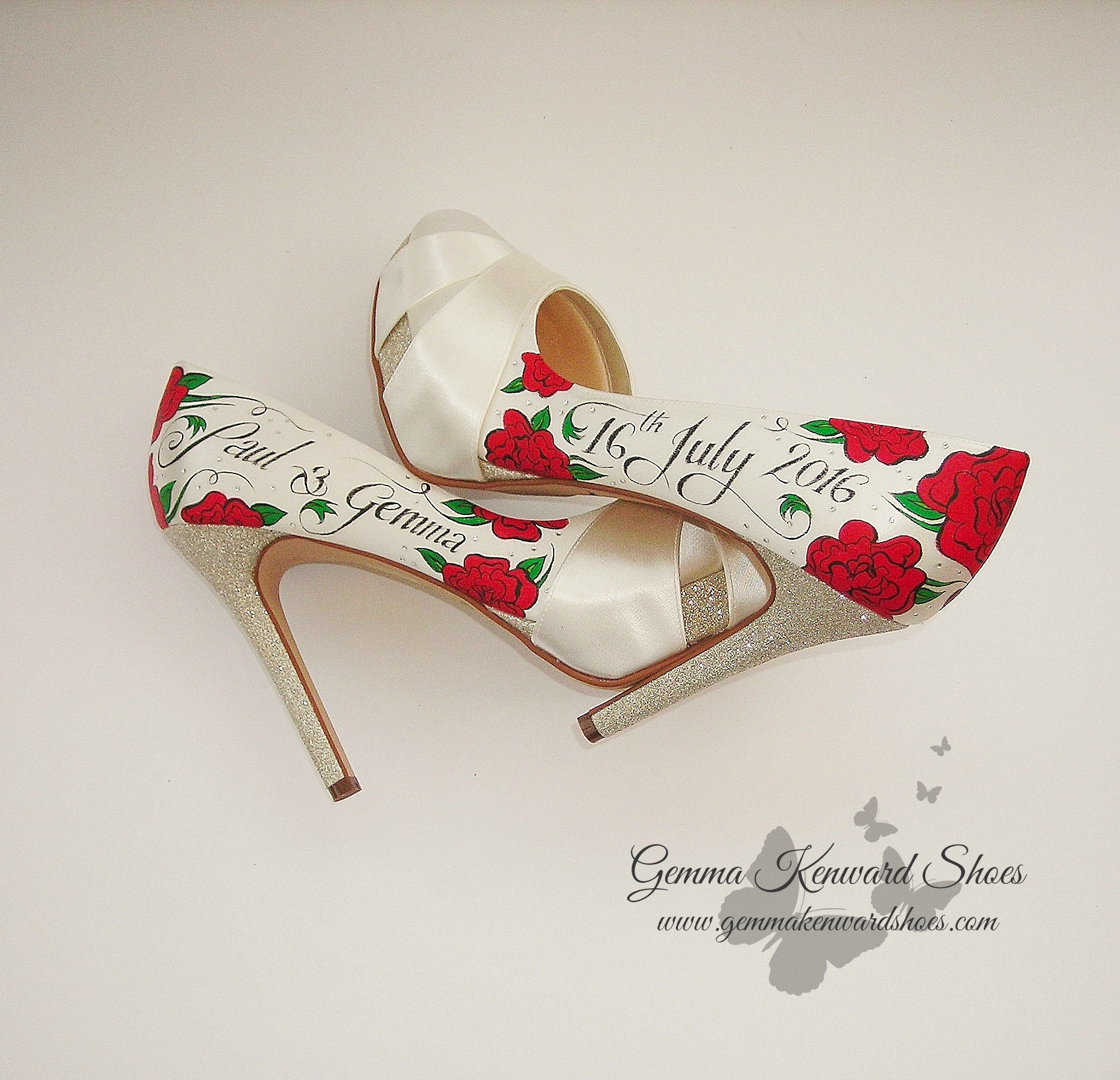 red rose and glitter wedding shoes.JPG