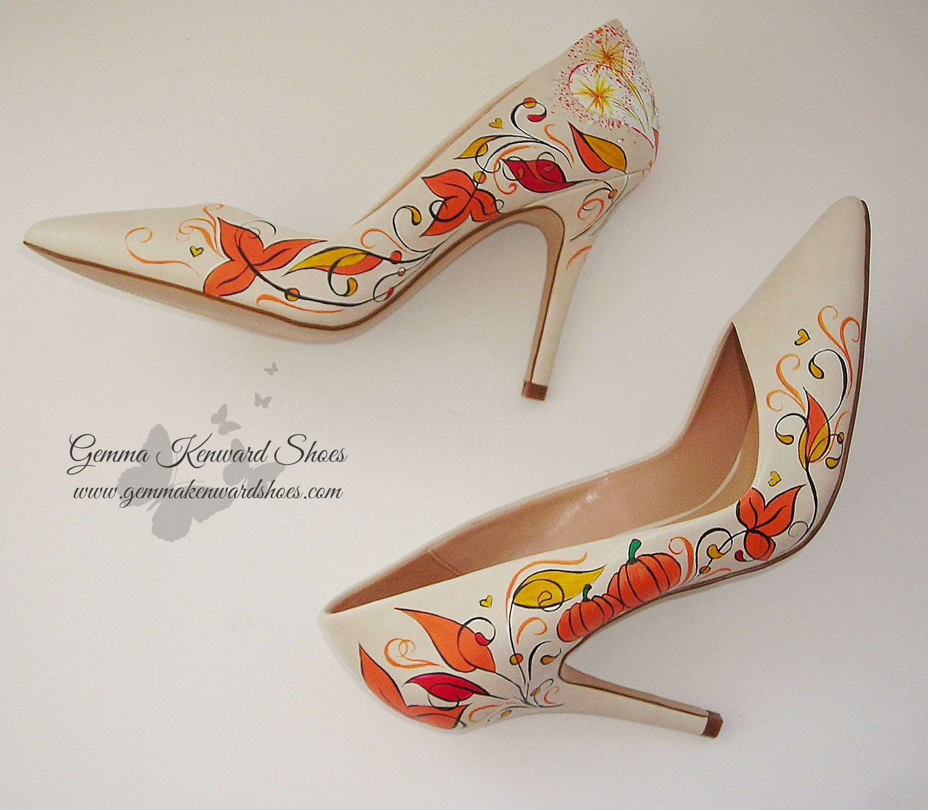 Leaves and pumpkins hand painted on wedding shoes.JPG