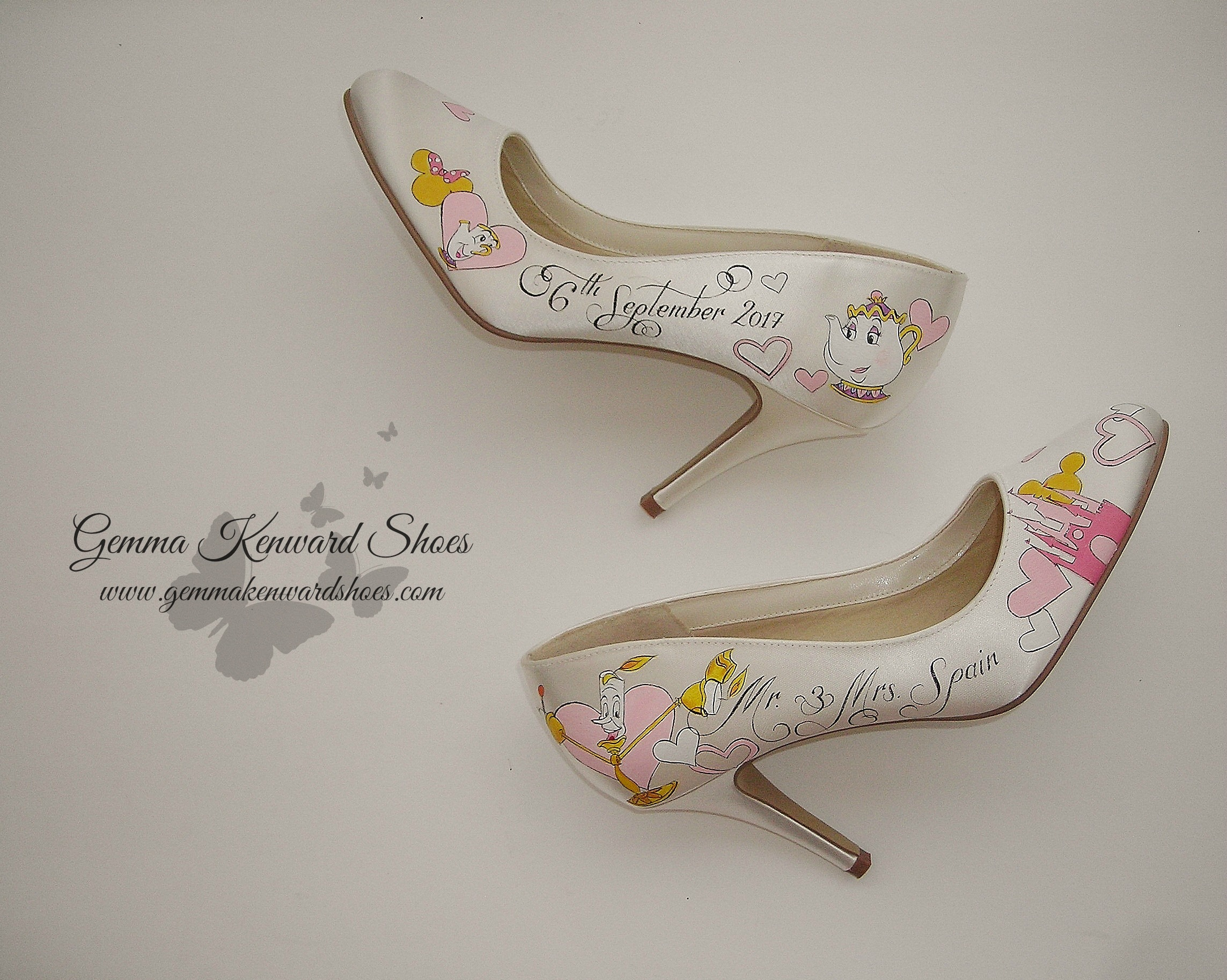 Hand Painted Disney Beauty and the Beast Personalized Bridal Shoes