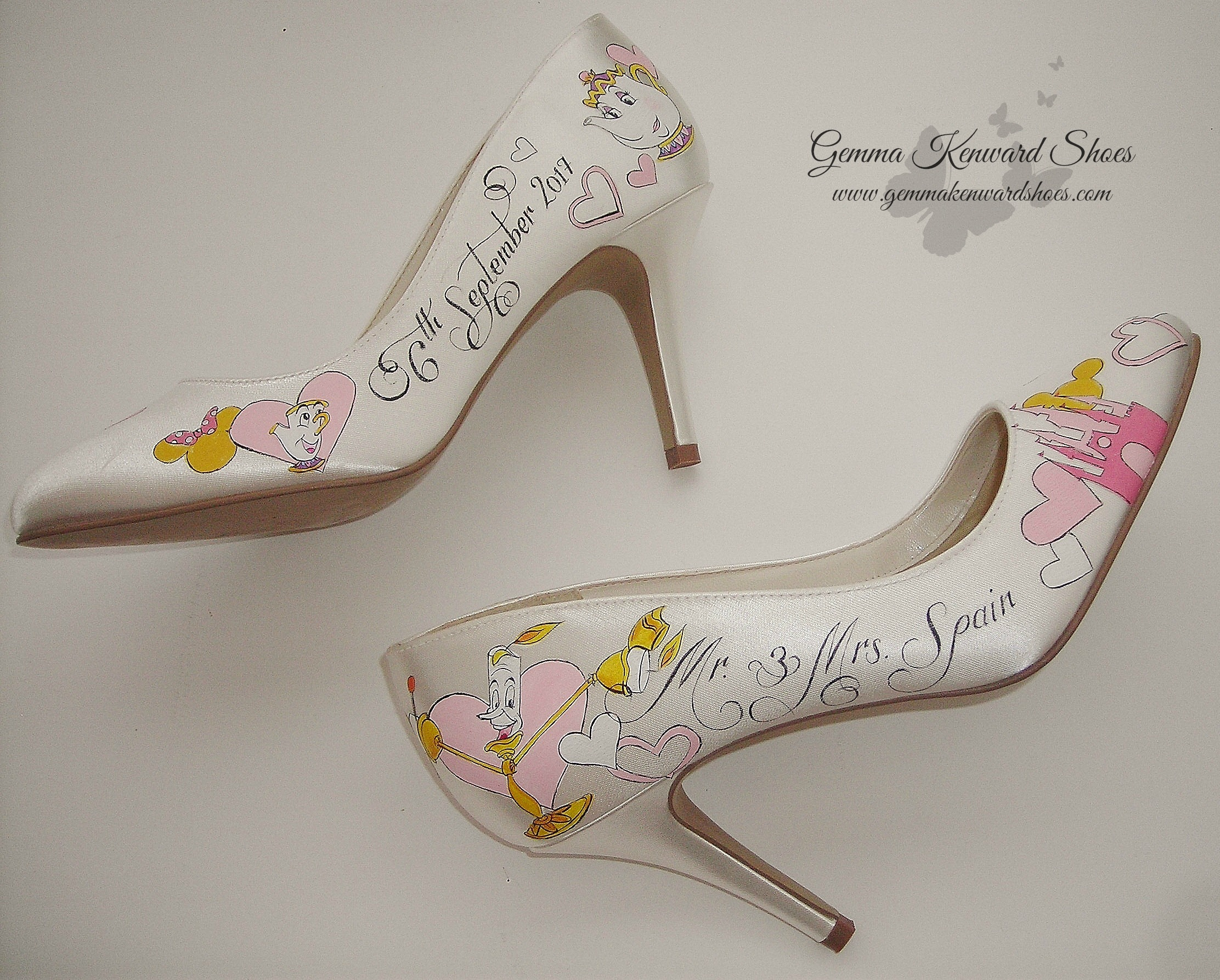 Hand Painted Disney Beauty and the Beast personalised Brides Shoes