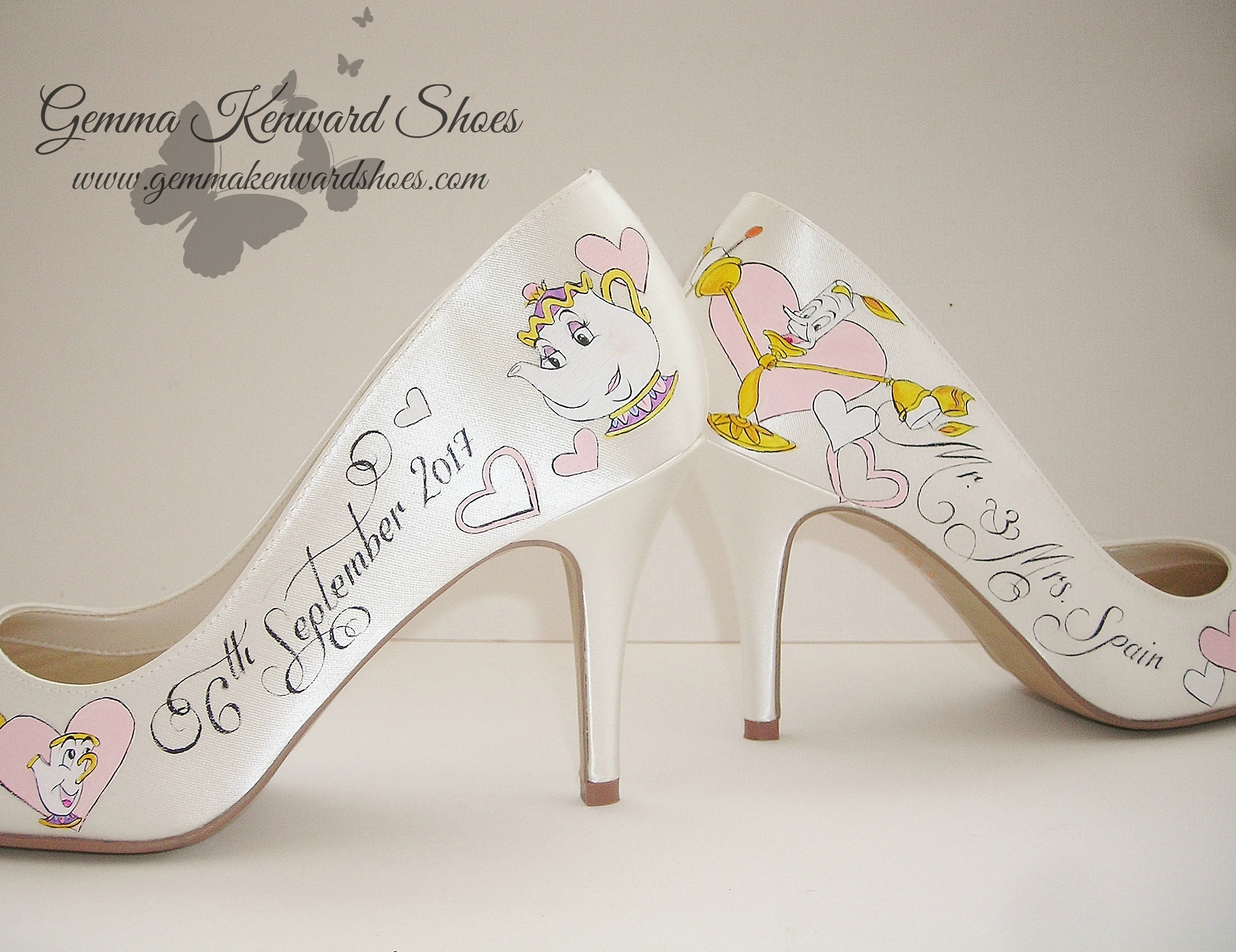 Mrs Potts, Chip and Lumiere hand painted wedding shoes