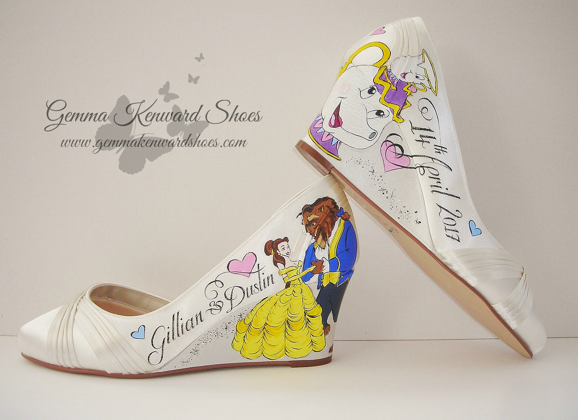 The epitome of Disney Princess themed wedding shoes for a bride in the UK.