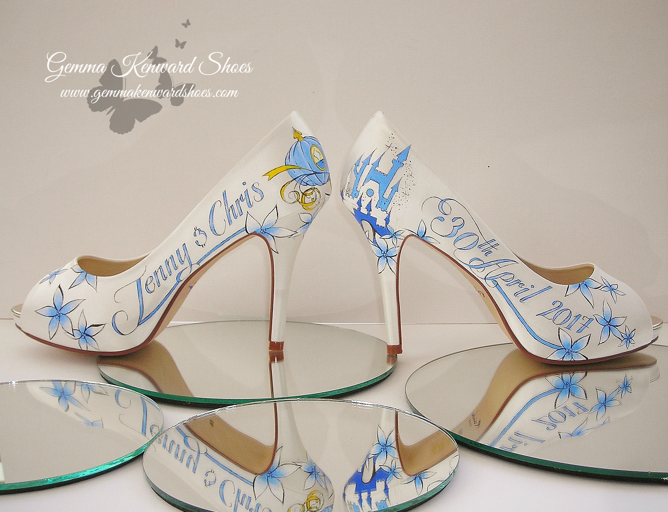 Customized hand painted Disney Cinderella Princess wedding shoes for a bride in the UK.