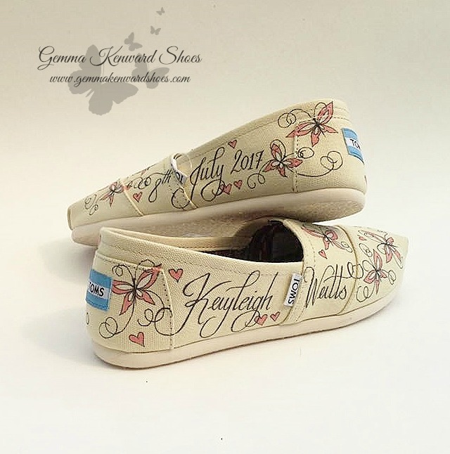 Bridal Toms customized with pink butterflies and pink hearts.
