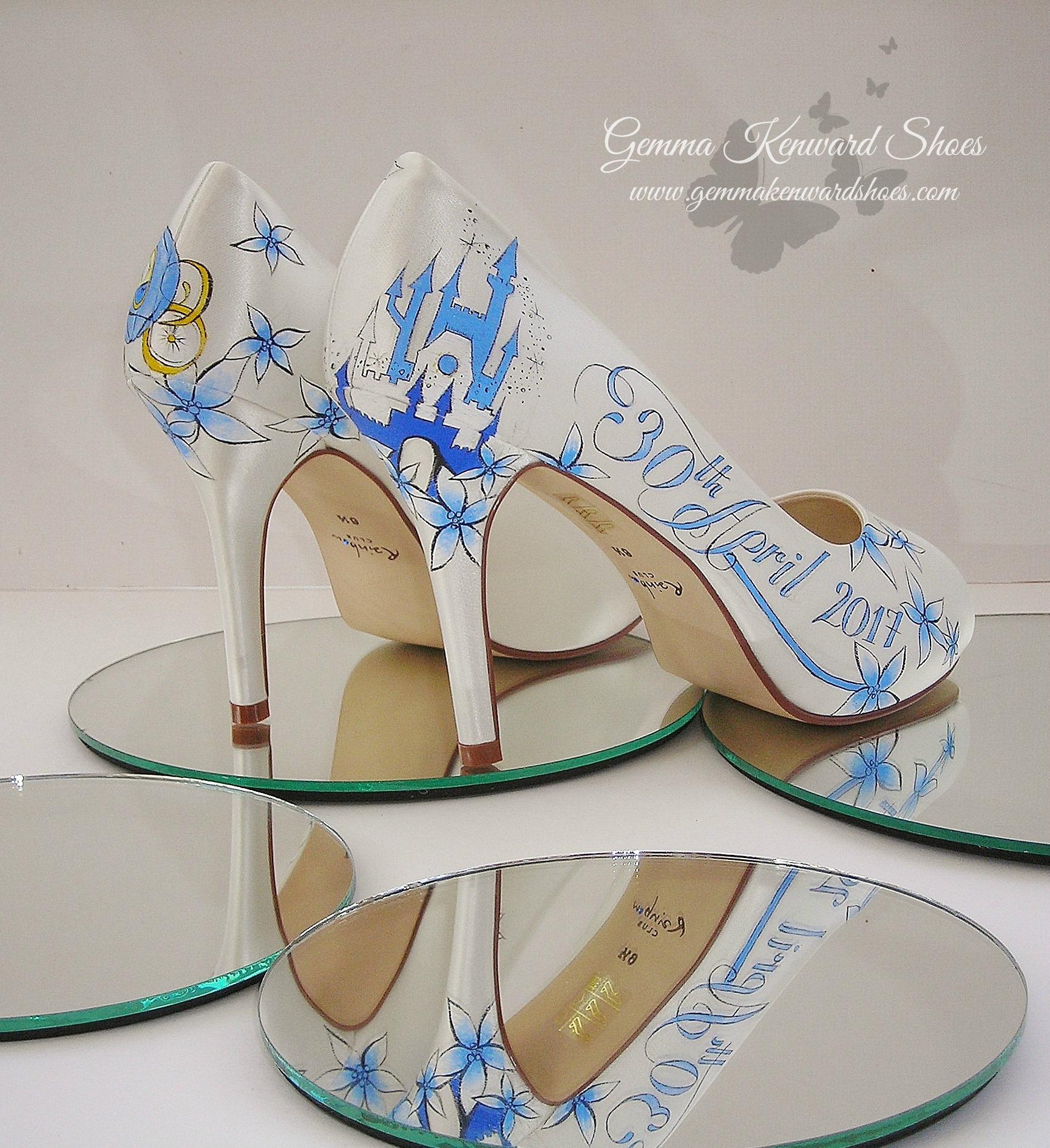 Blue disney princess painted wedding shoes