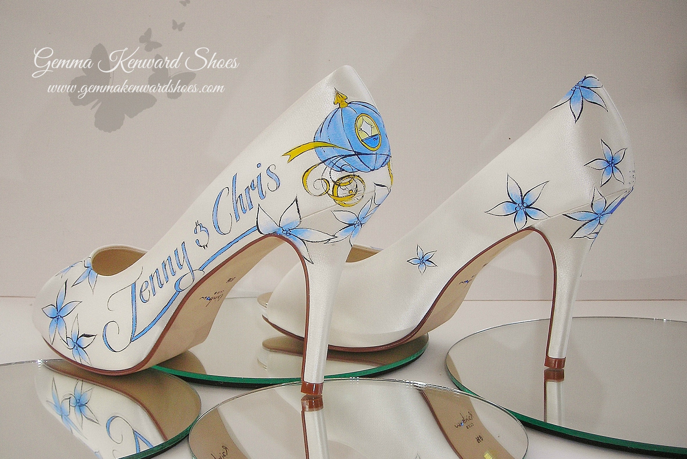 Hand Painted blue flowers on a pair of customised Disney wedding shoes