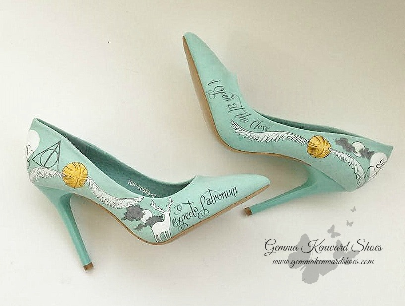 Expecto Patronum hand painted wedding shoes