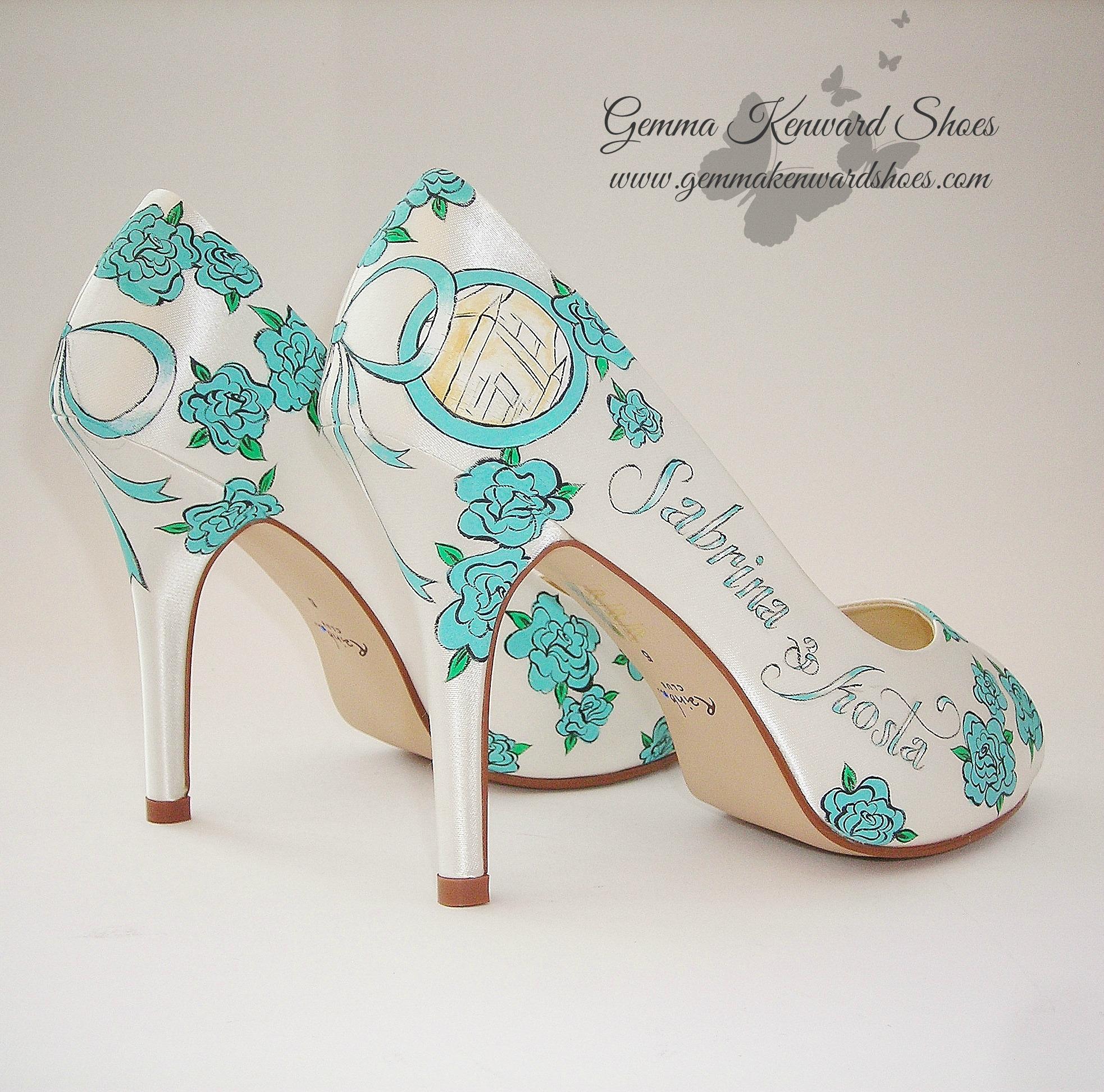 Tiffany Blue Hand Painted Wedding Brides Shoes.JPG
