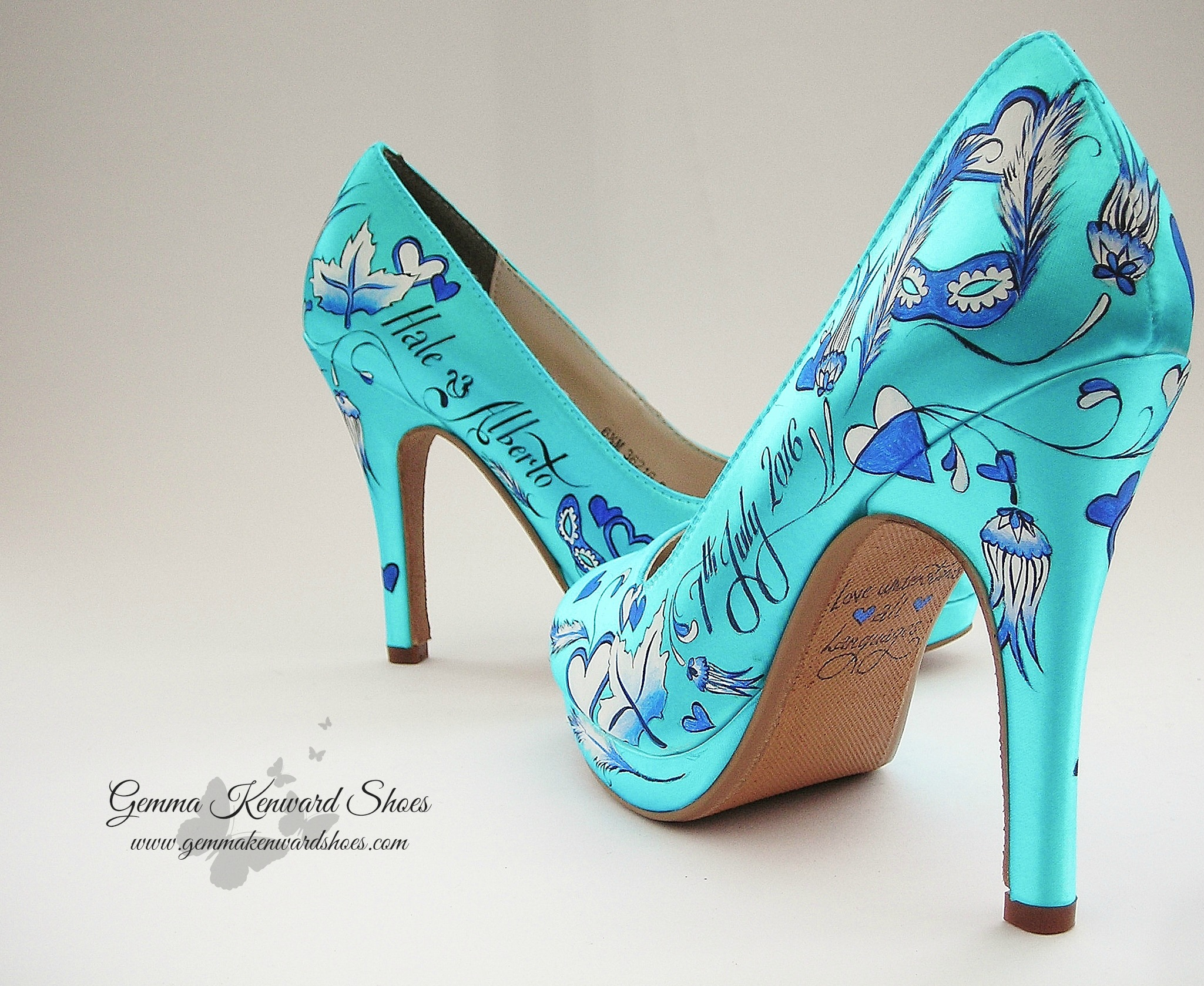 China print inspired wedding shoes for a bride in Greece.