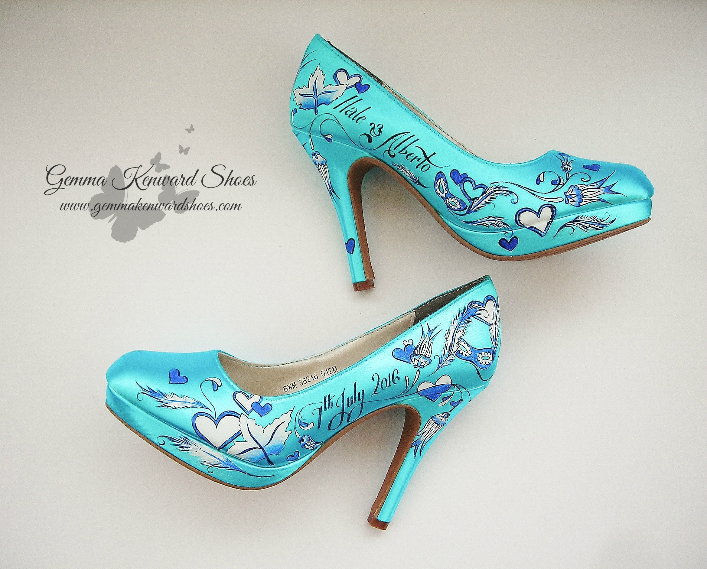 Blue hand painted bridal shoes