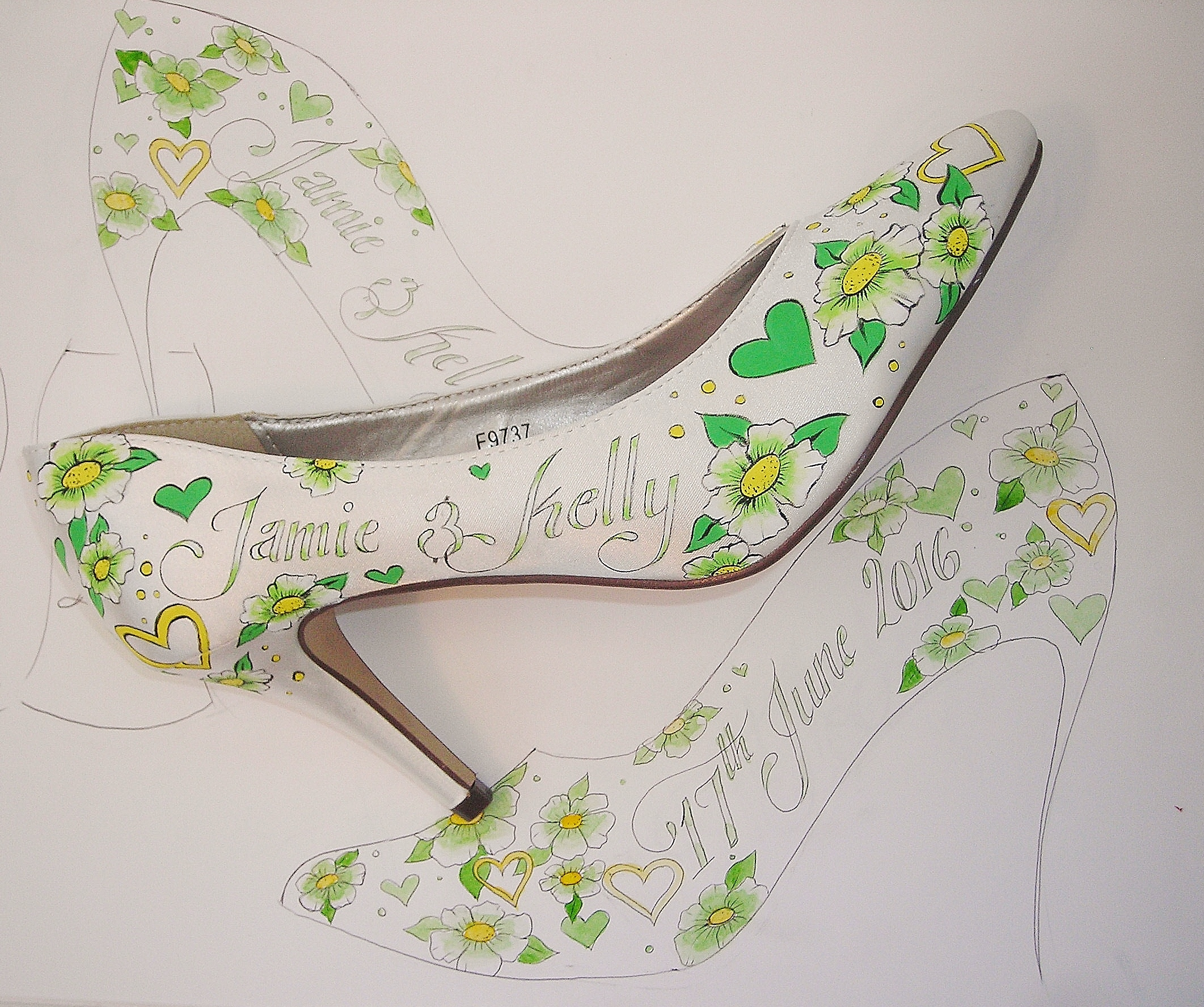 Green and lemon yellow wedding shoes hand painted with flowers and hearts