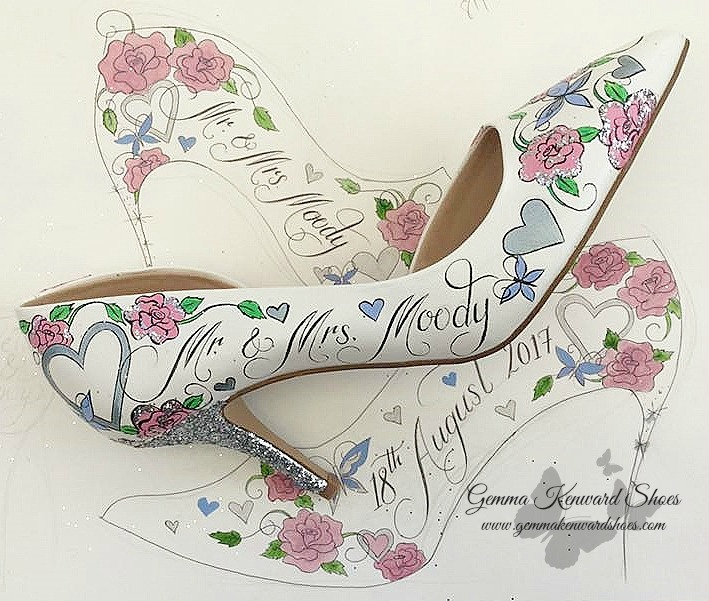 Hand Painted pink and silver wedding shoes
