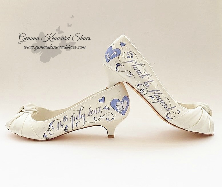 Hand painted blue work out wedding shoes with boxing gloves.jpg