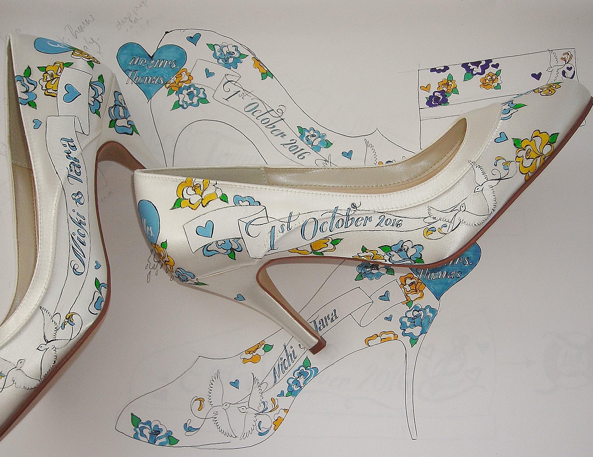 Hand Custom painted wedding shoe sin teal .JPG