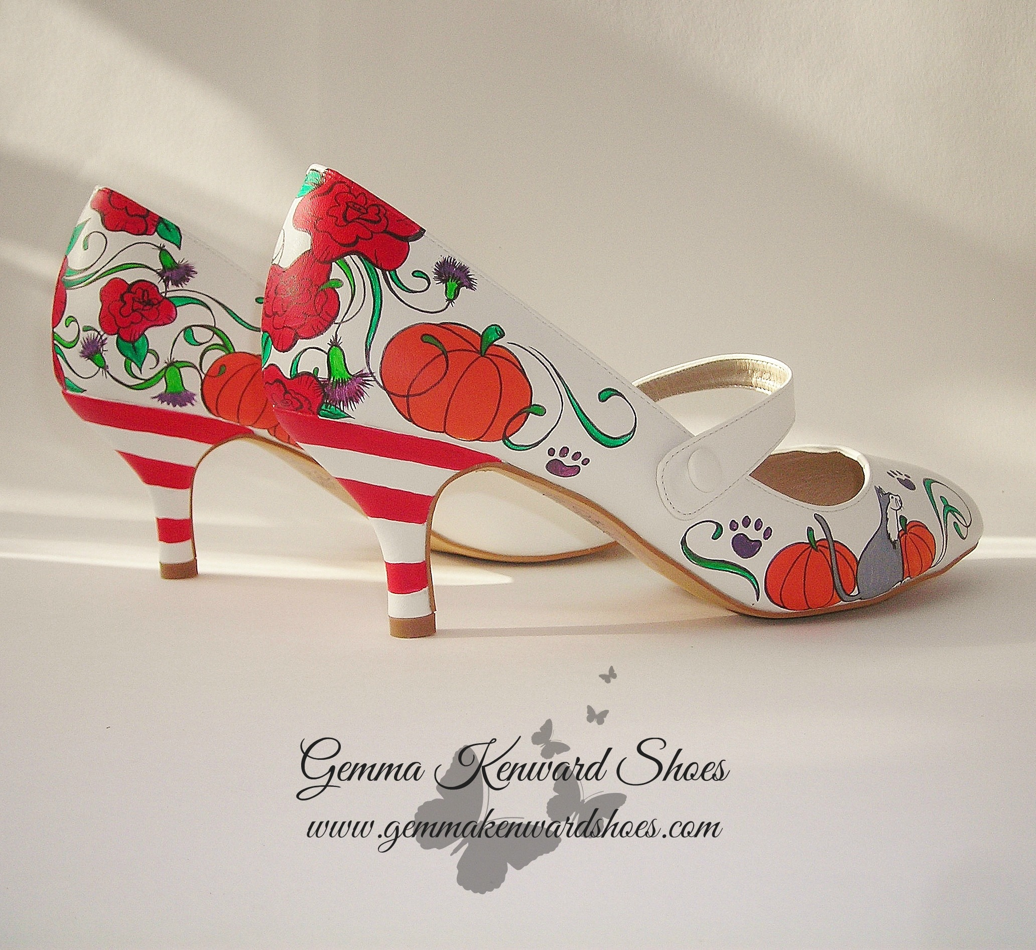 Hand painted halloween shoes with cats and pumpkins.JPG
