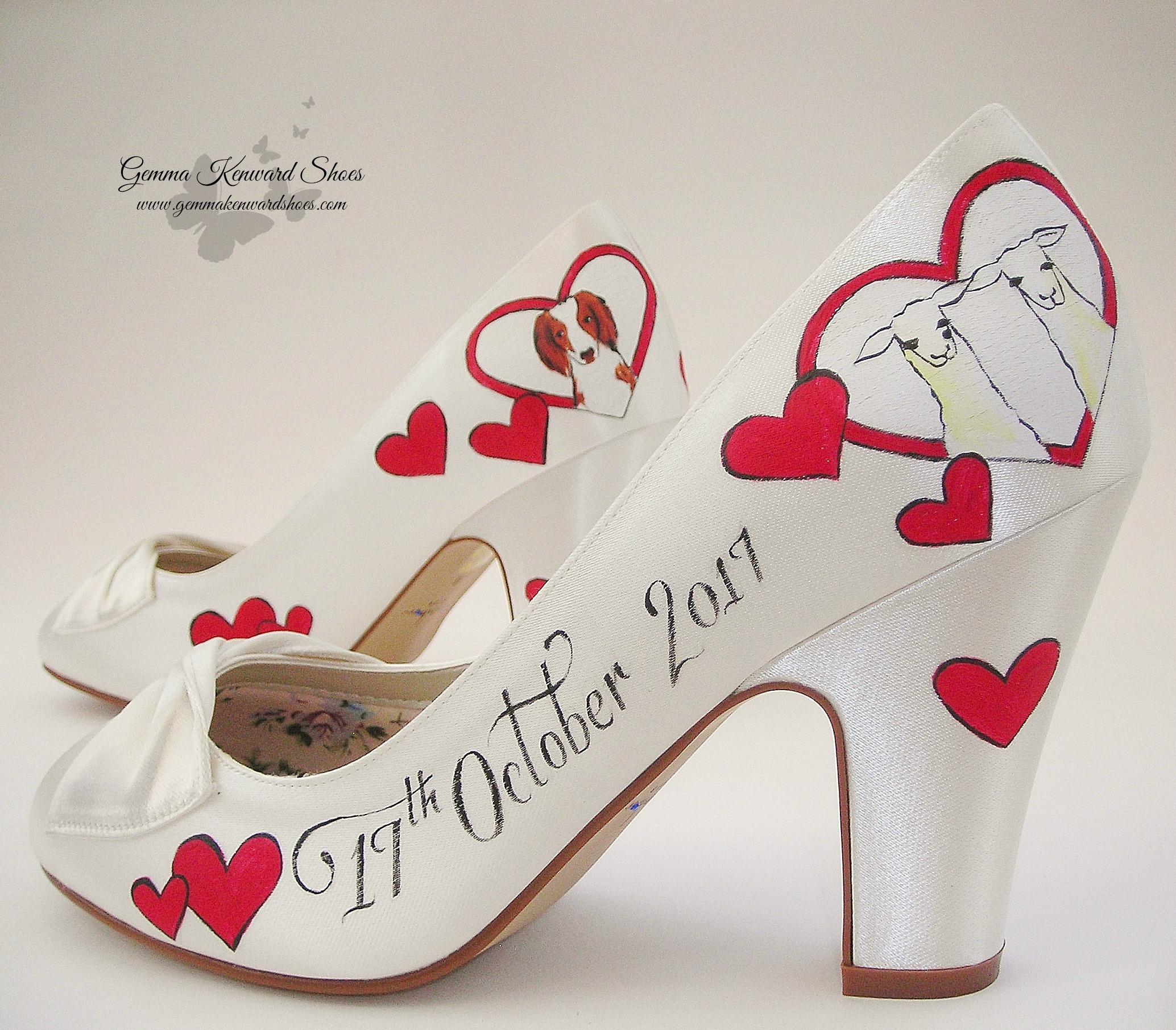 Hand painted llama and dog wedding shoes.JPG
