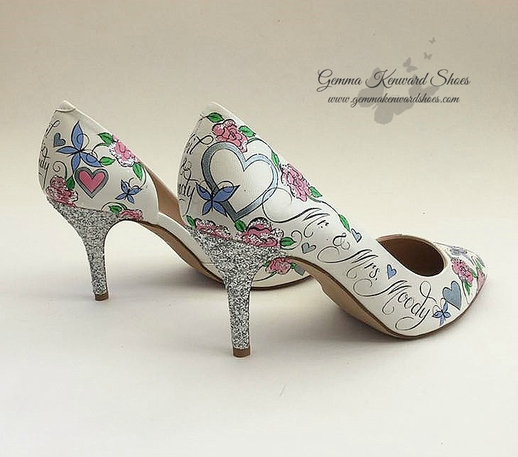 Hand painted pink and silver bridal shoes wedding .jpg