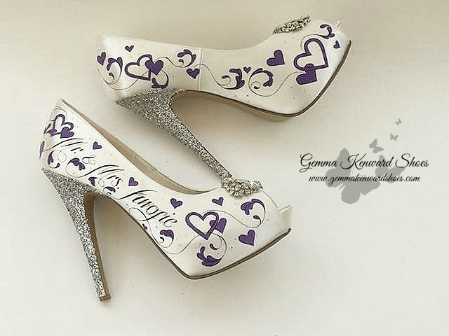 Hand painted purple wedding shoes with flowers and hearts.jpg