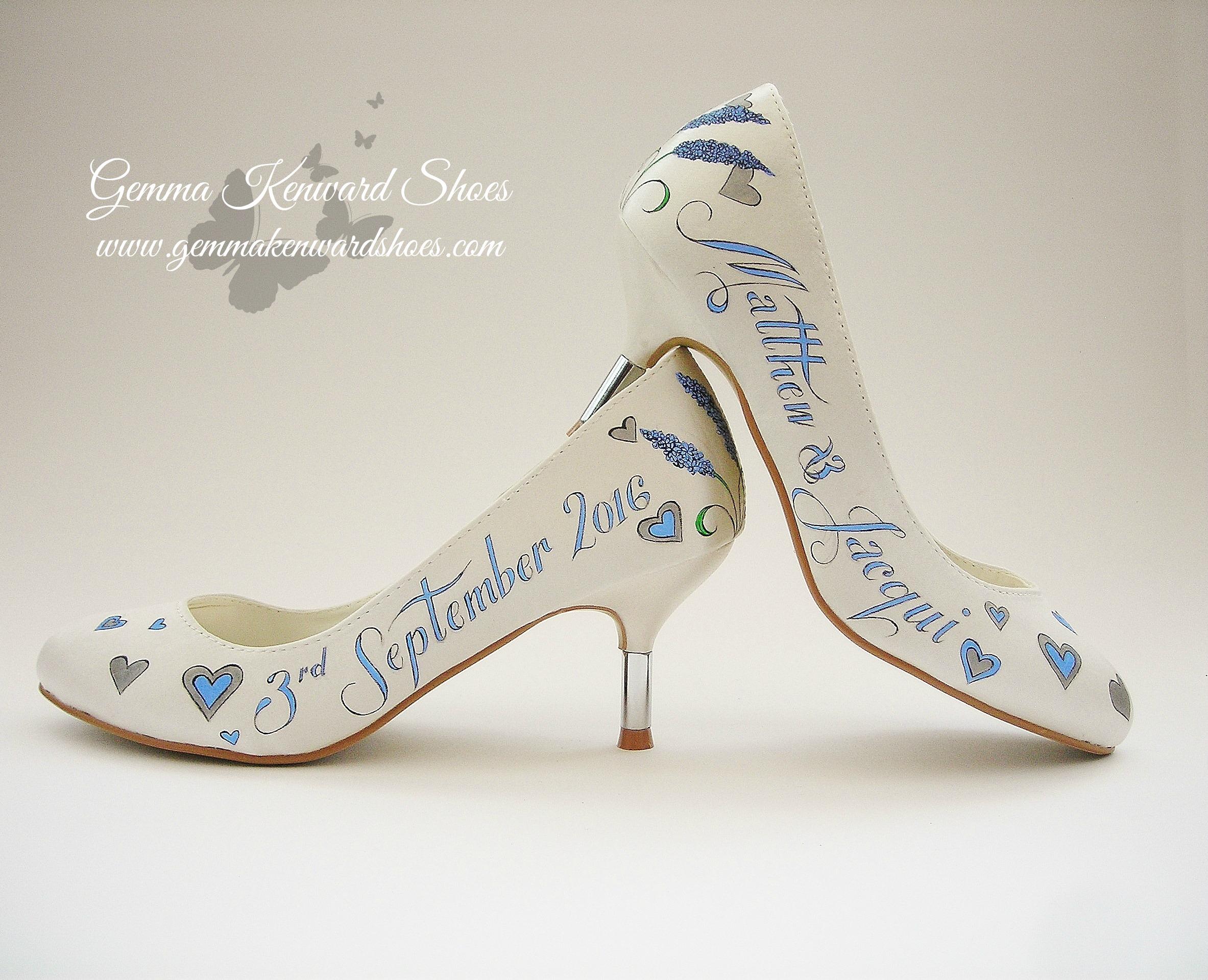 Light blue hand painted brides shoes.JPG