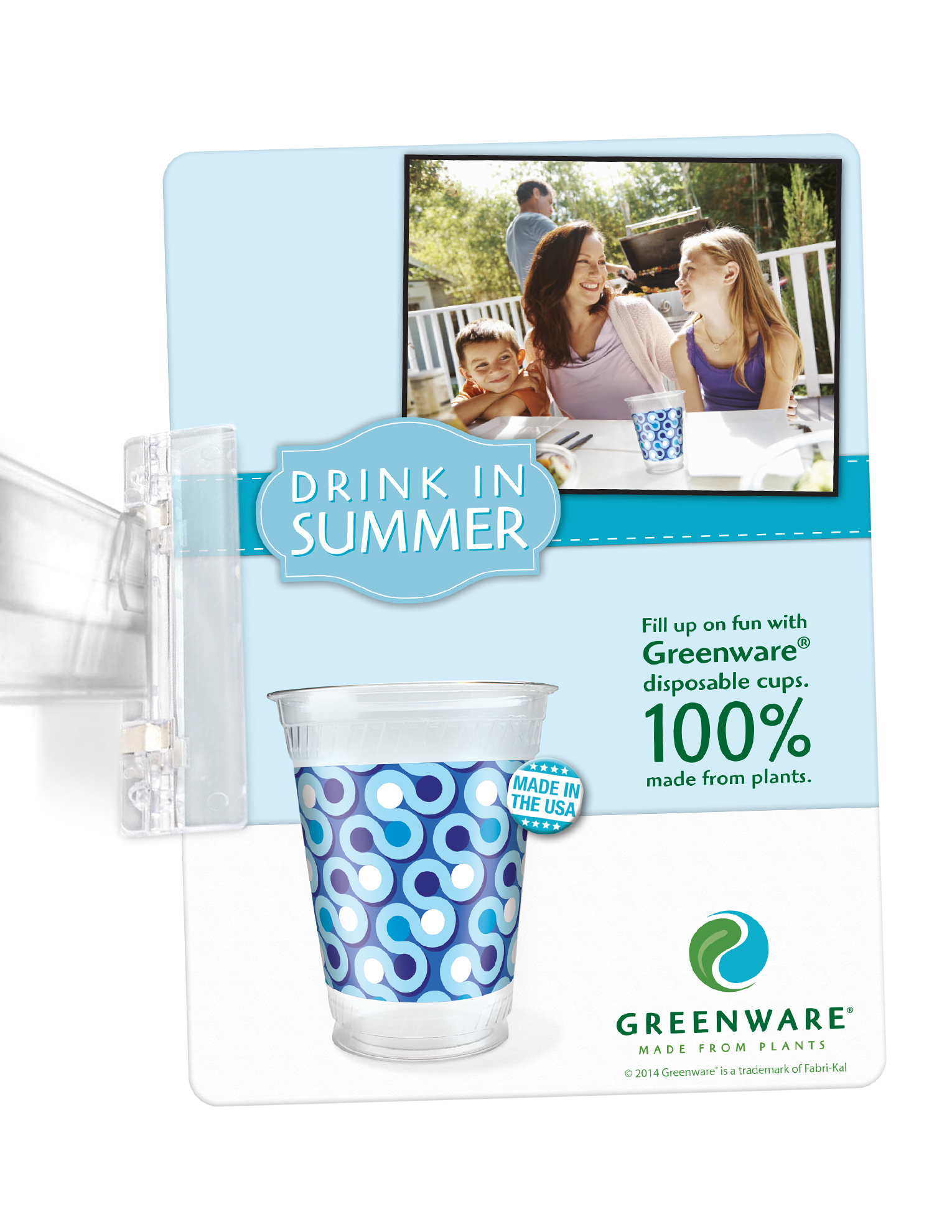 2014 Kroger in-store shelf talker ad placed next to Greenware cup sleeves.