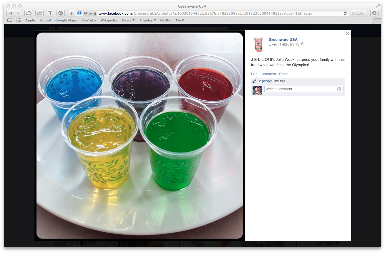 2014 Winter Olympics + Jello Week Facebook Post (click to enlarge post image)