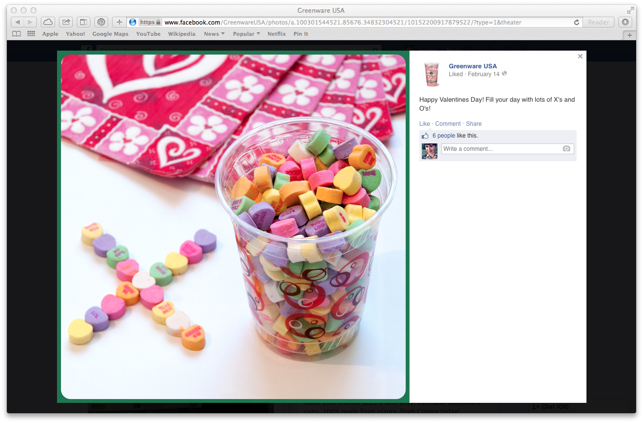Happy Valentine's Day 2014 Facebook Post (click to enlarge post image)