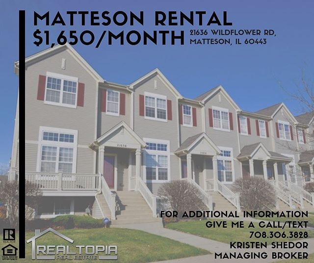 🔥This rental is going to go FAST🔥$1,650/month . . #rent #realtor #realestate #matteson #entrepreneur #success #business #buy #sell #sold #agent #client #yorkteamhomes #chicago #sale