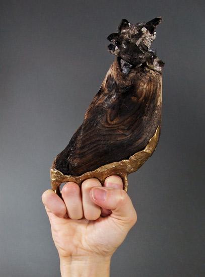Smokey quartz, burnt wood, bronze