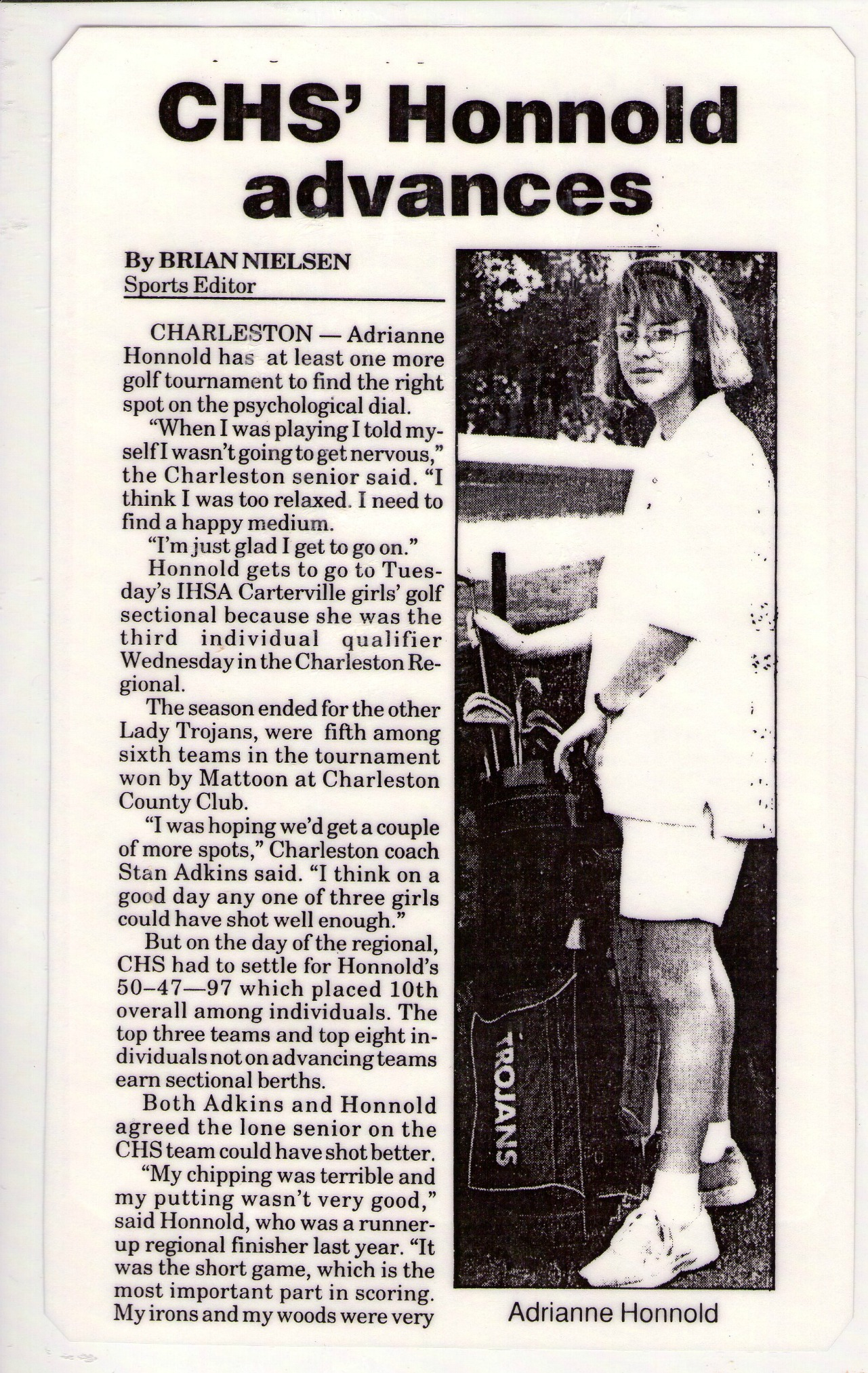 Golf newspaper clipping