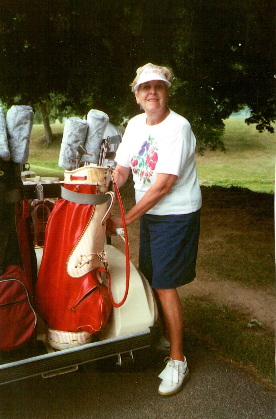 Grandma getting ready to golf