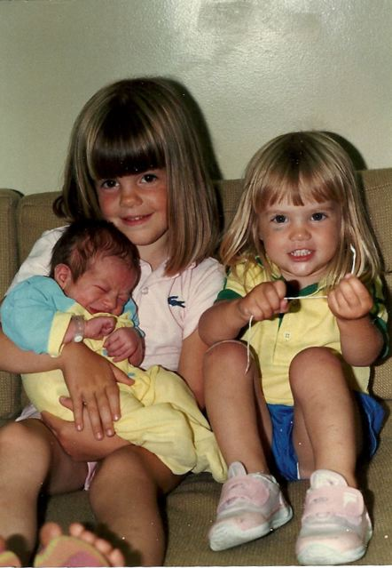 "Me, holding my brother Matt with my sister Mandy. ""Lessons"" would begin soon..."