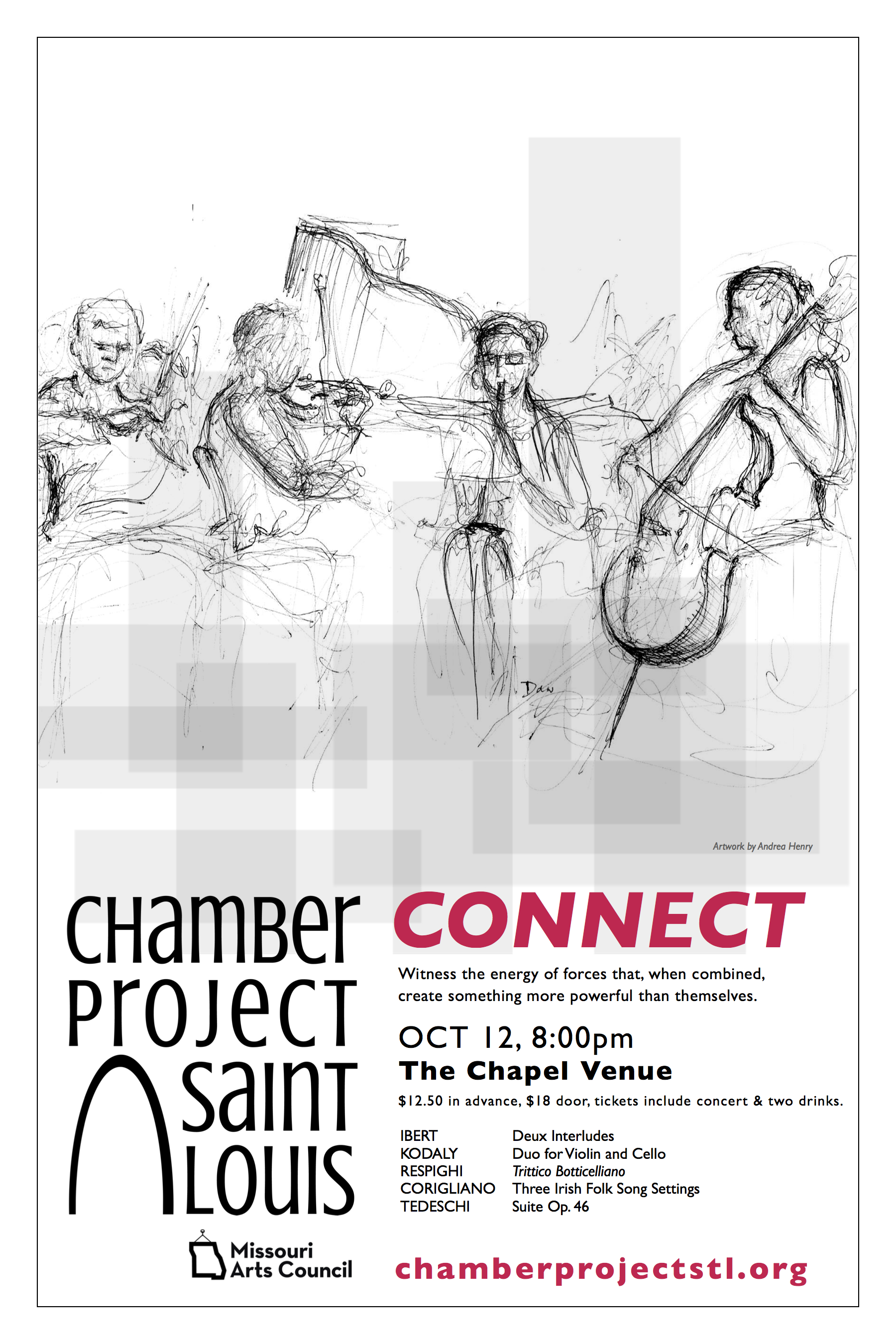 Artist Andrea Henry dropped into one of our rehearsals last month and did some sketching for us to use on our Connect poster. Making small connections with other artists in St. Louis builds our community and helps it thrive.
