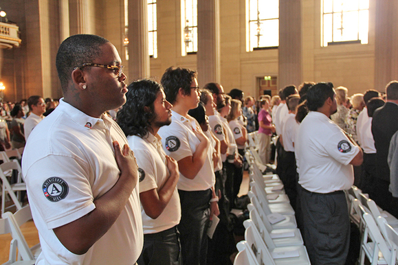 Photo: AmeriCorps members and  supporters pledged to serve at the AmeriCorps 20th Anniversary  celebration in Washington, D.C., on September 20, 2013.