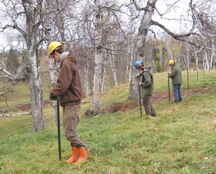 Photo: Conservation Corps crew members installed livestock access control fence to protect Elim Creek in Carlton County.