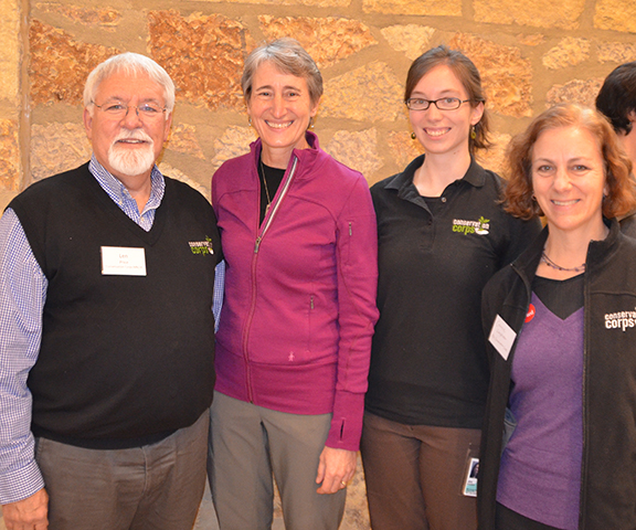 Photo: Conservation Corps staff with U.S. Secretary of the Interior Sally Jewell at the Minnesota Valley National Wildlife Refuge. From left, Len Price, Jewell, Jen Wendland and Connie Lanphear.