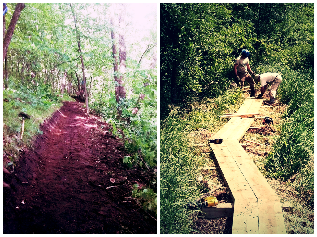 After. (Right photo) Ray Vlasek giving instructions to Shaun Roeker, Ottertail crew co-leader.